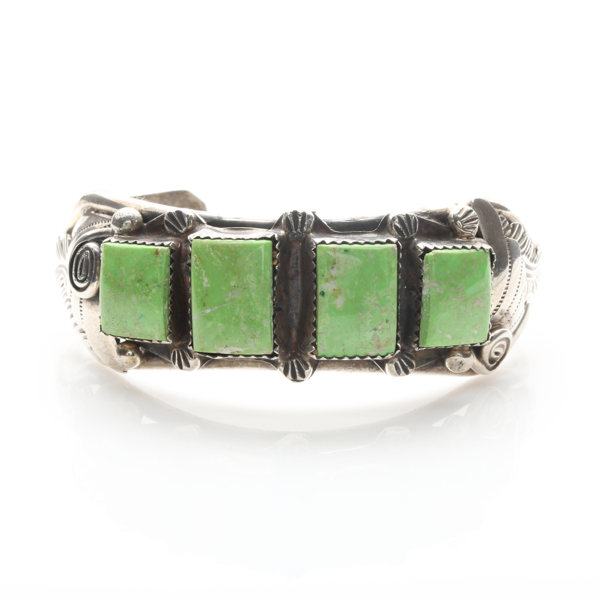 Ray Adakai Navajo Diné Sterling Silver Gaspeite Cuff Bracelet
