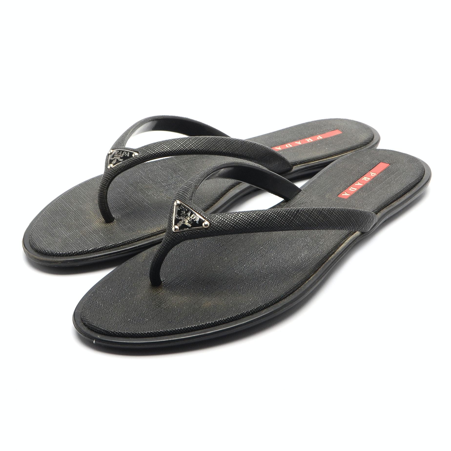 Prada Black Textured Vinyl Sandals