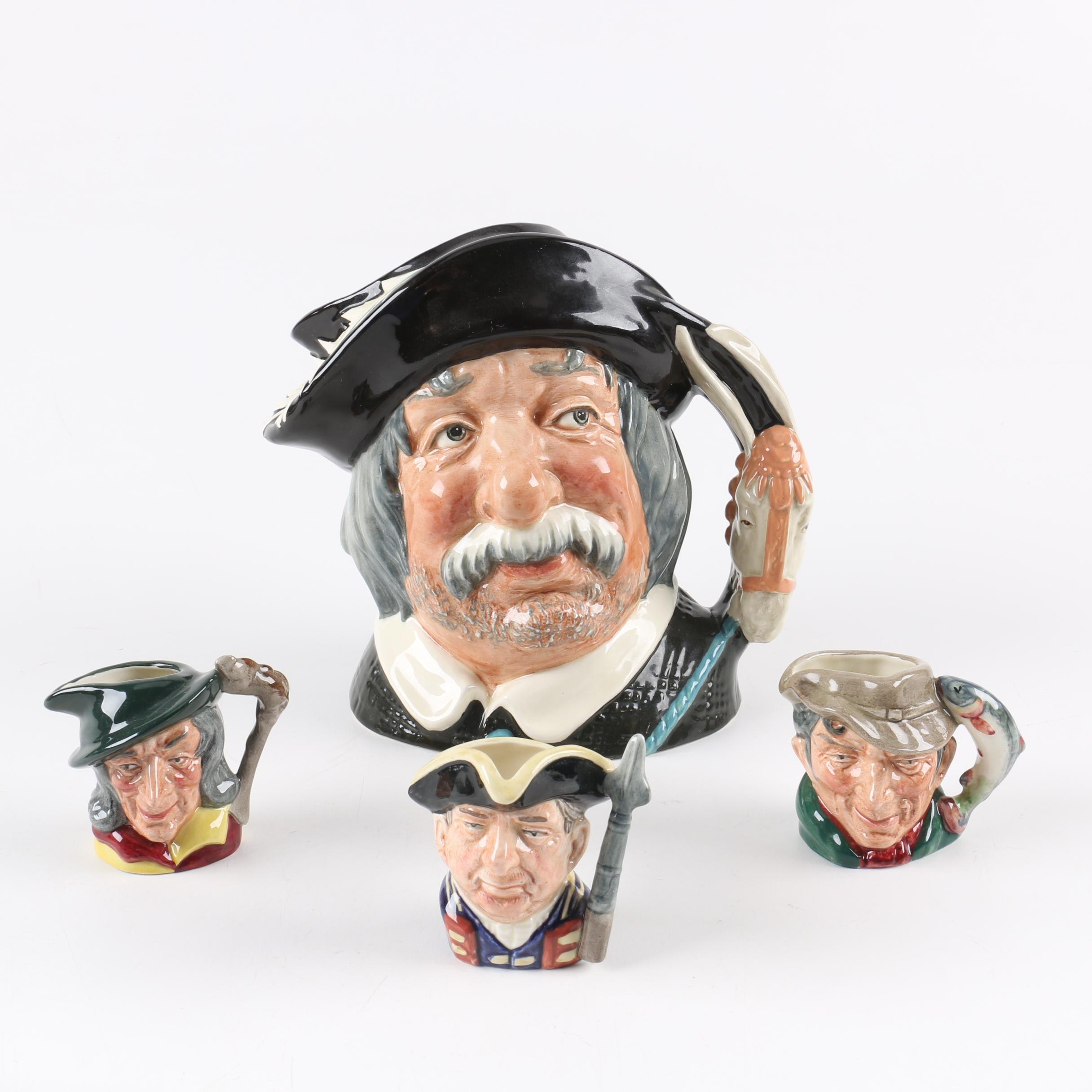 "Royal Doulton ""Sancho Pança"" ""Pied Piper"", ""Guardsman"", and ""The Poacher"" Mugs"