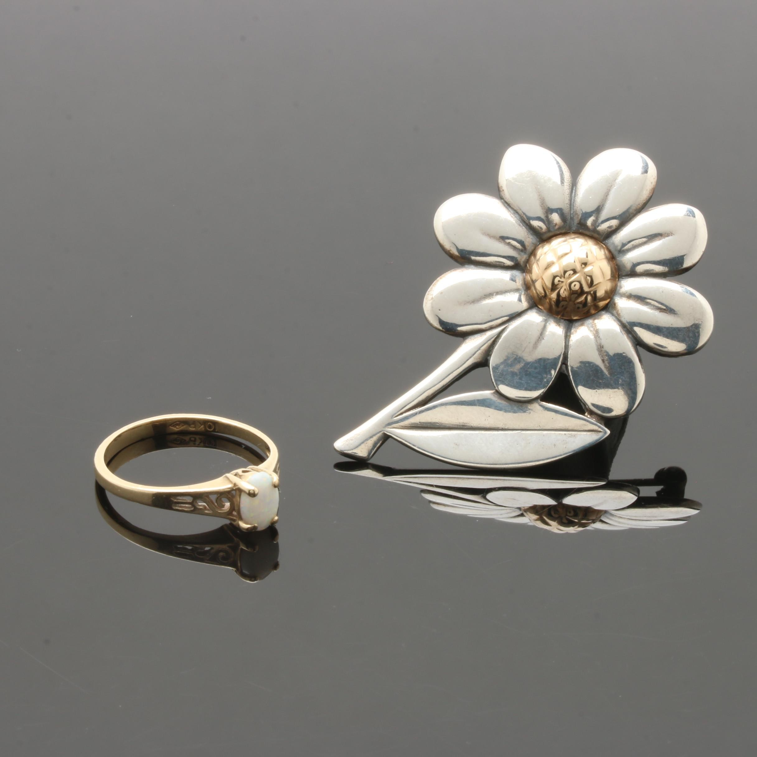 Sterling Silver, 10K and 14K Gold Brooch and Opal Ring Including James Avery