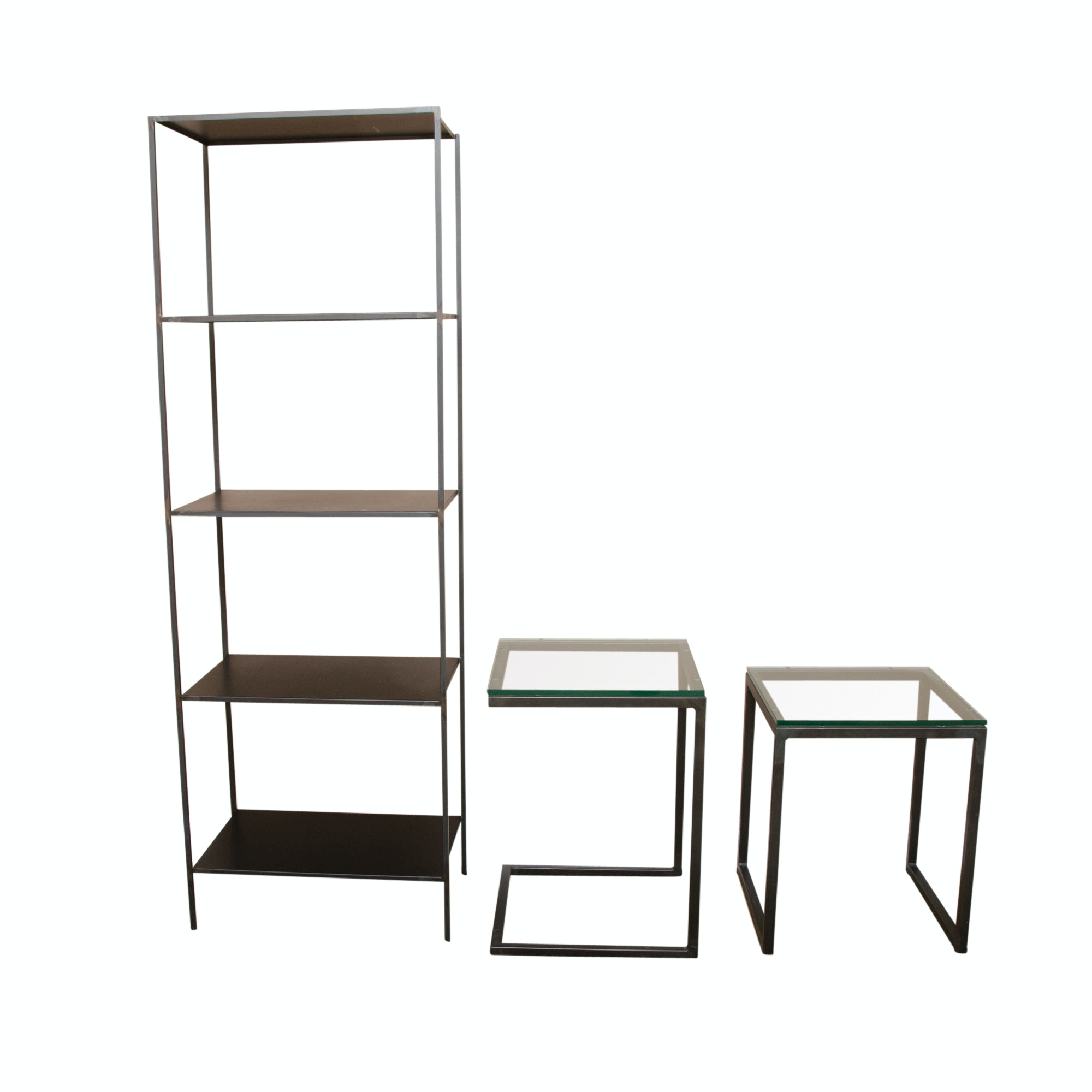 Contemporary Metal Bookcase and Glass Top Side Tables