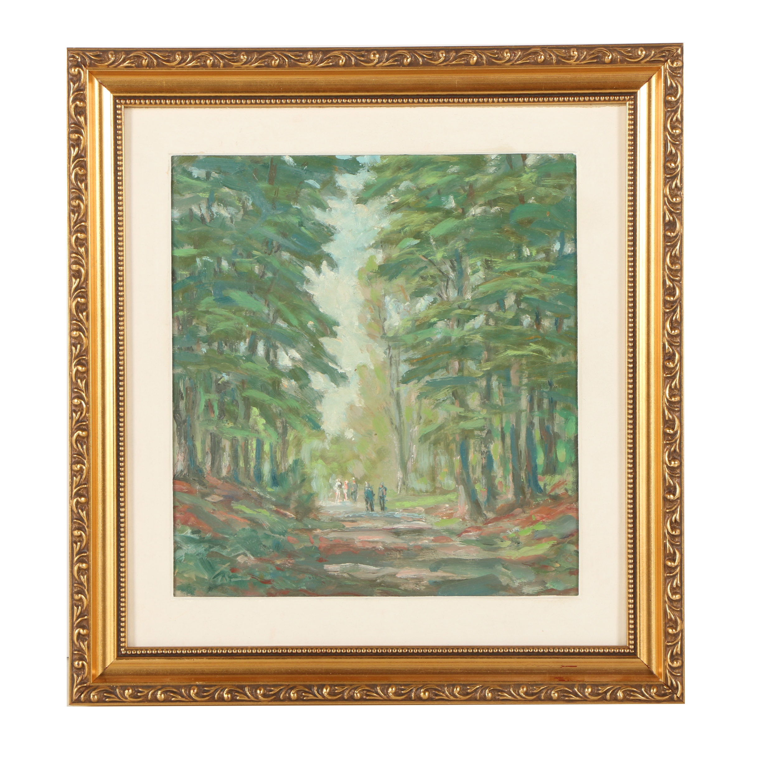 Oil Painting of Figures Walking in the Woods