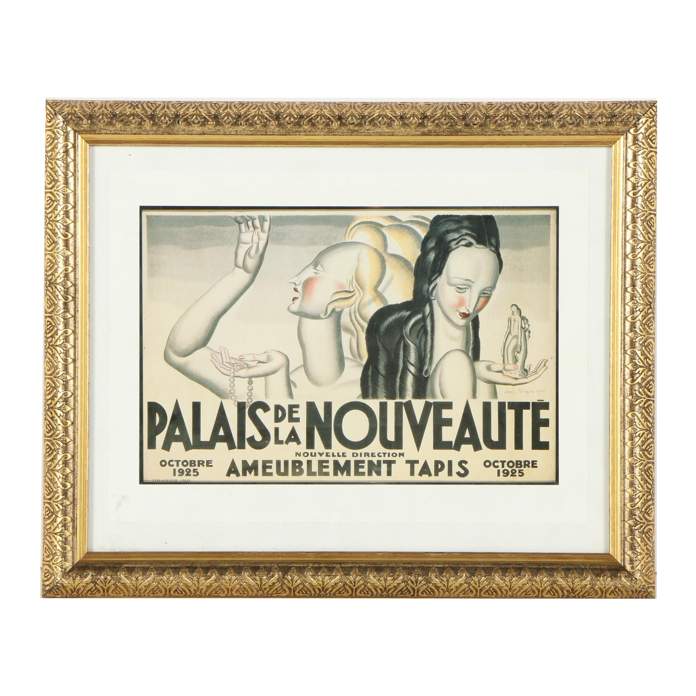 """Offset Lithograph Reproduction Print After Jean Dupas """"Palais de la Nouveauté"""""""