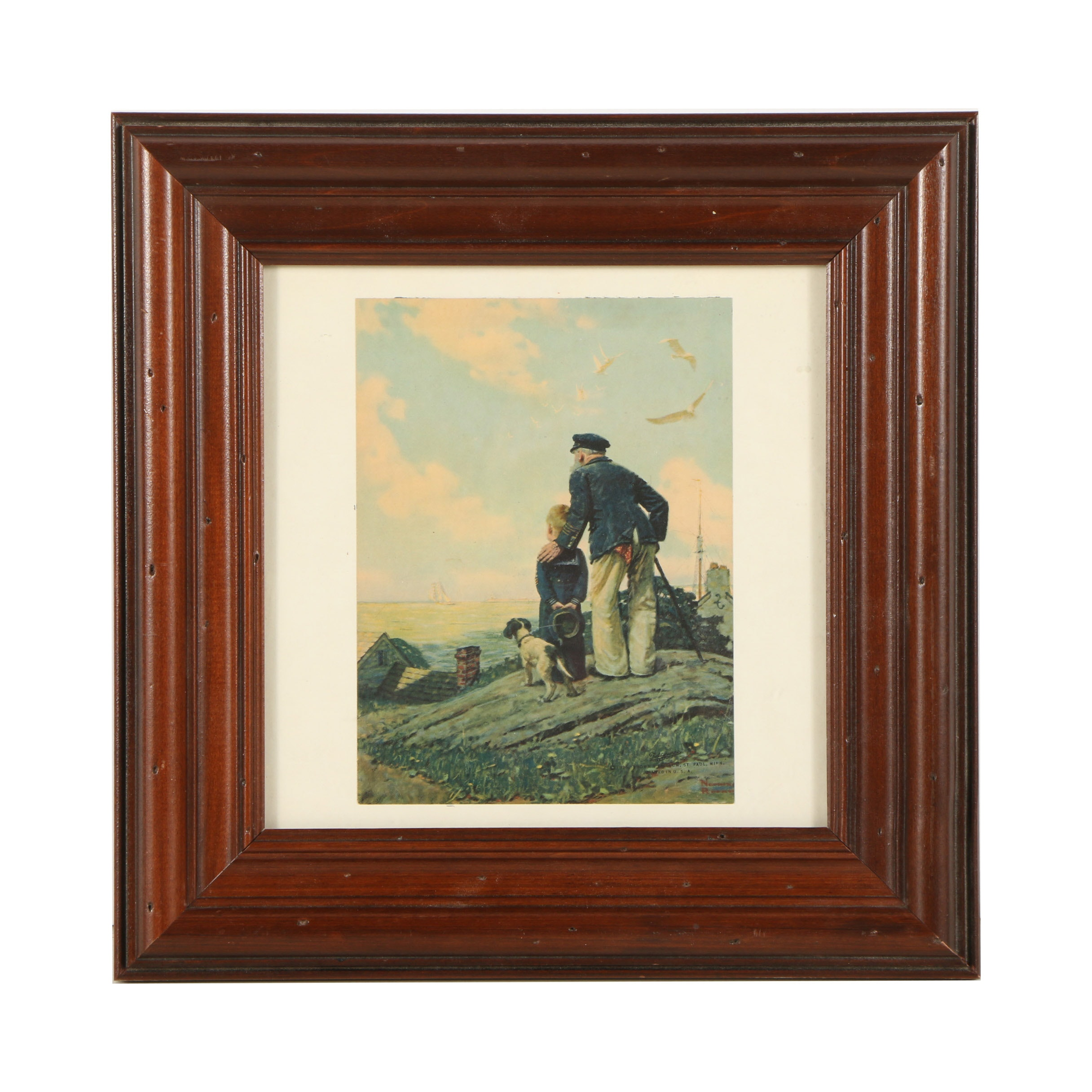"""Offset Lithograph After Norman Rockwell """"Looking Out to Sea"""""""