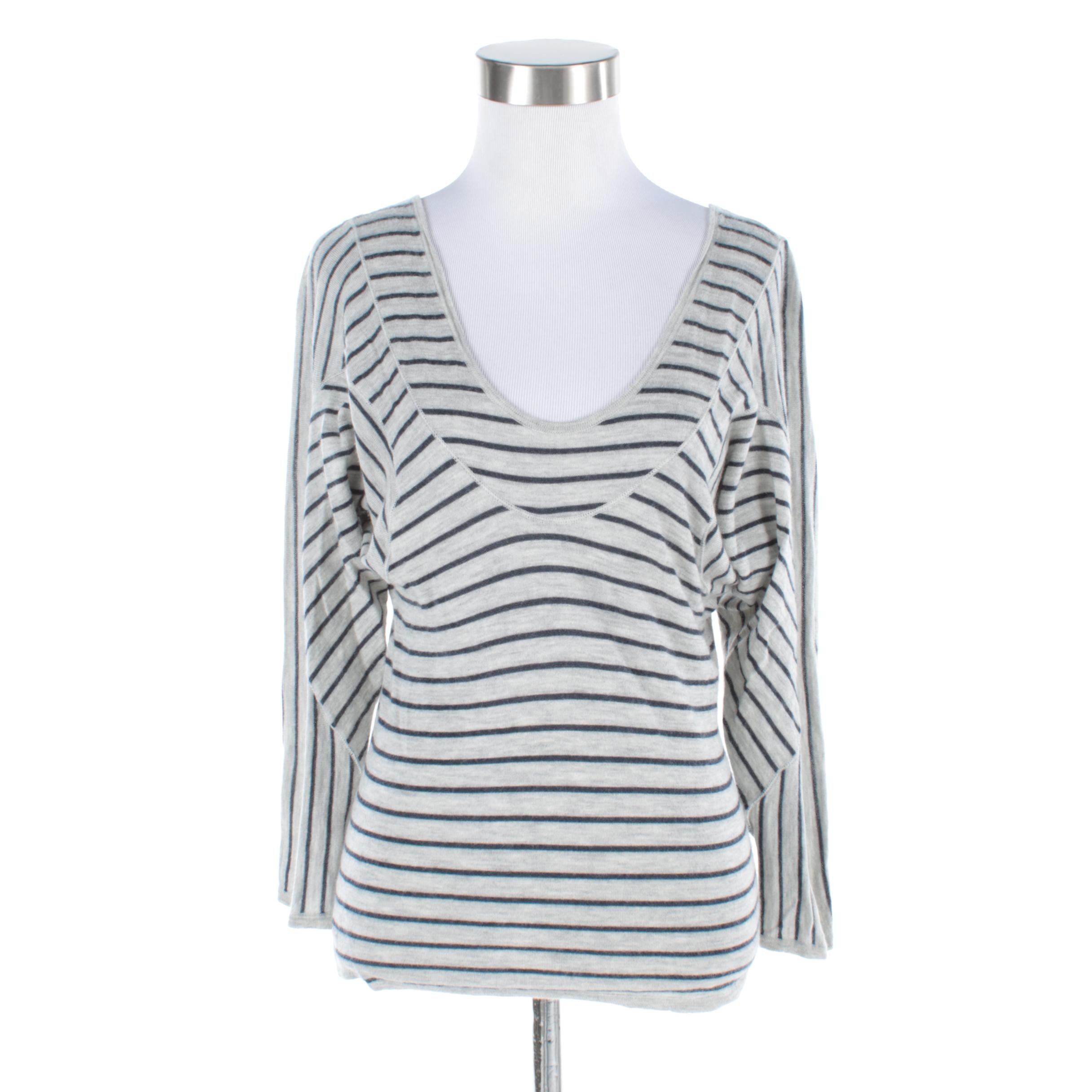 Marni Cashmere Dolman Shirt with Scooped Neckline