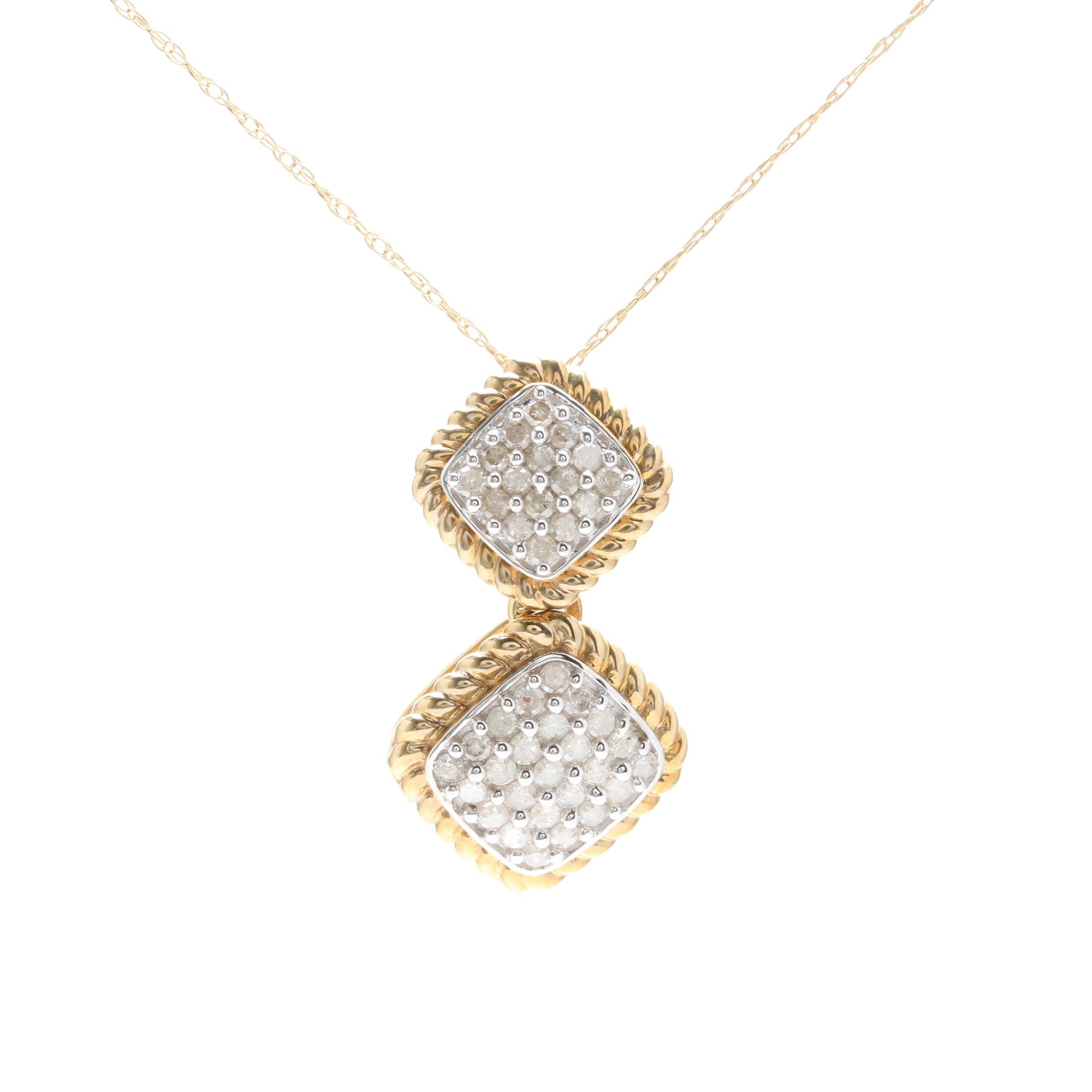 10K Yellow Gold Diamond Drop Pendant Necklace