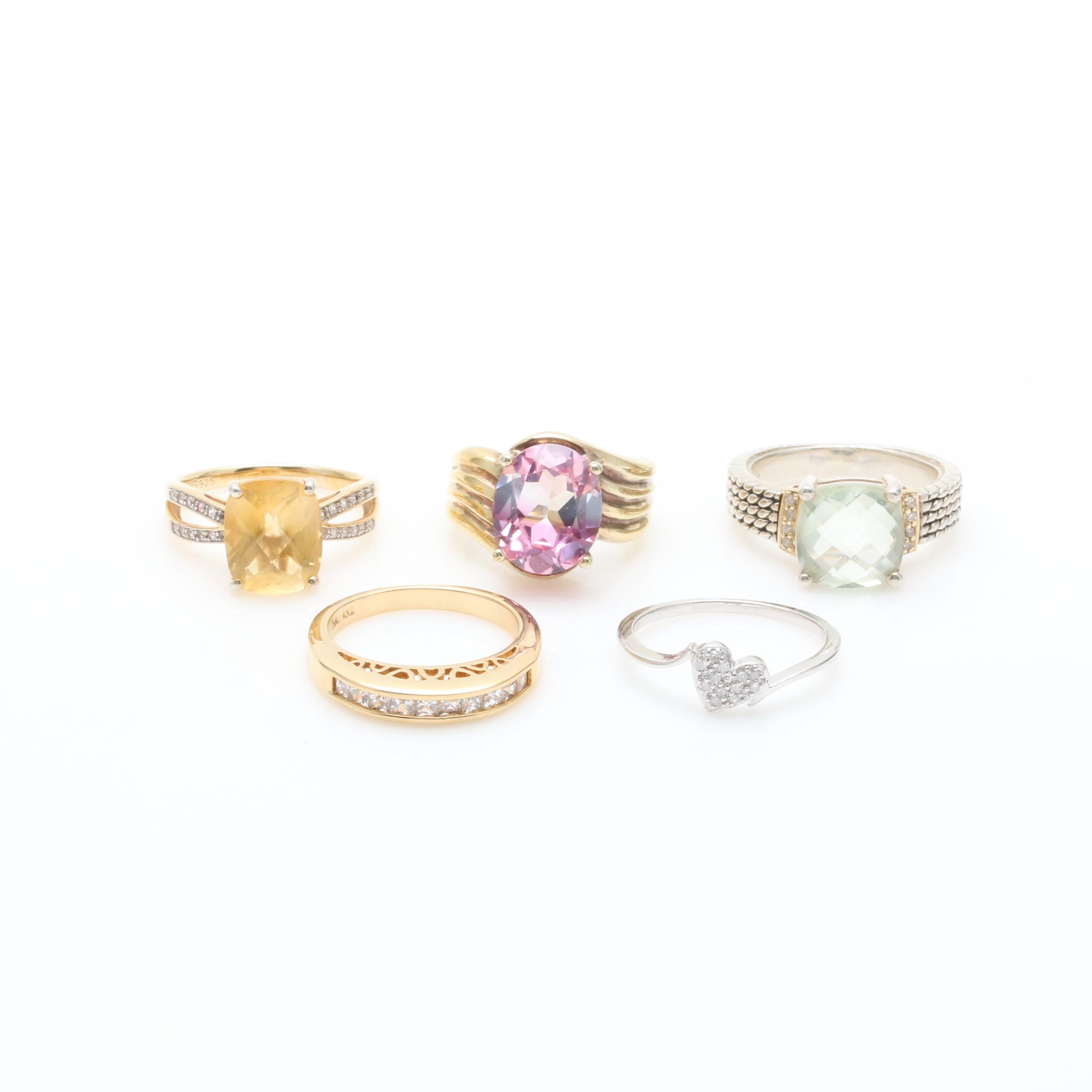 Gold Wash on Sterling Silver Gemstone and Diamond Ring Selection