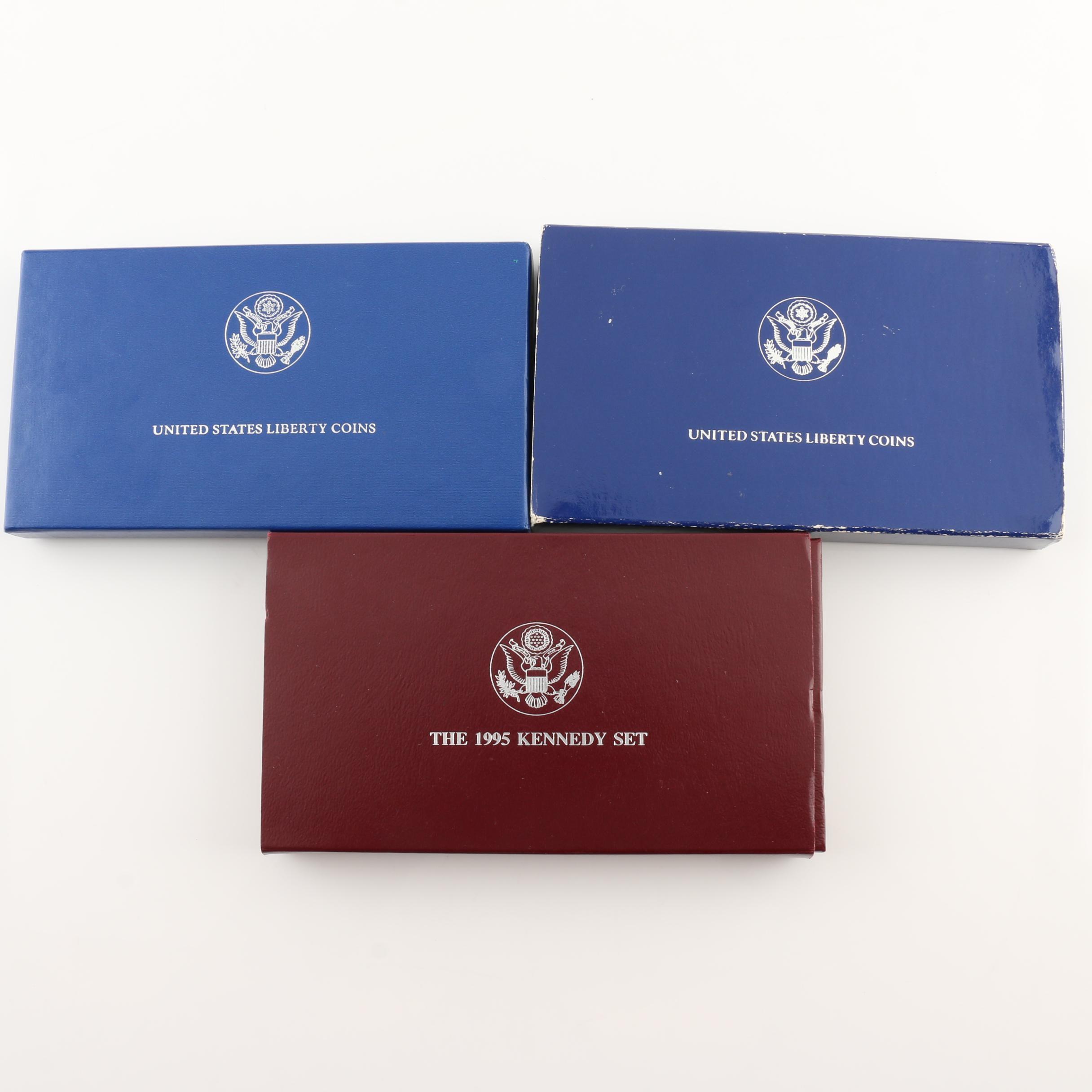 Three U.S. Mint Sets of Commemorative Silver Dollars and Half Dollars