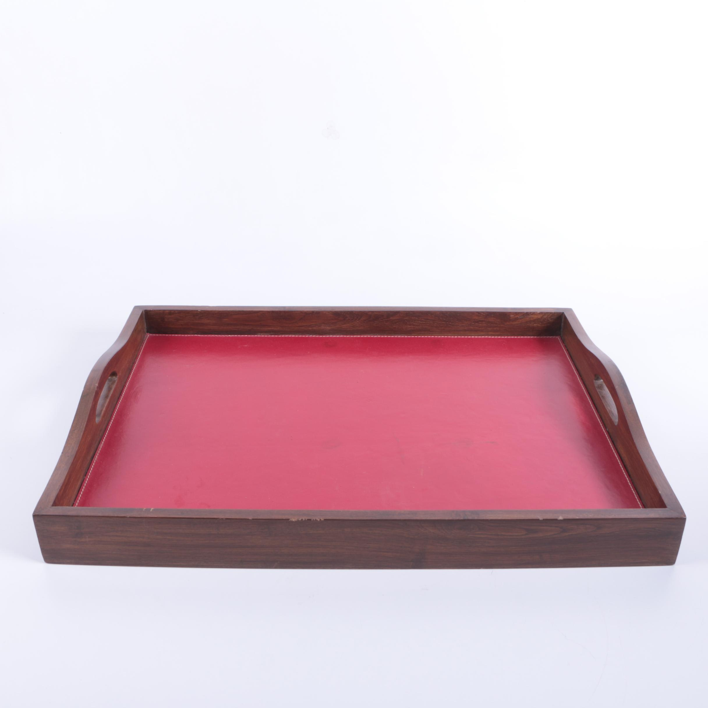 Wood and Leather Serving Tray
