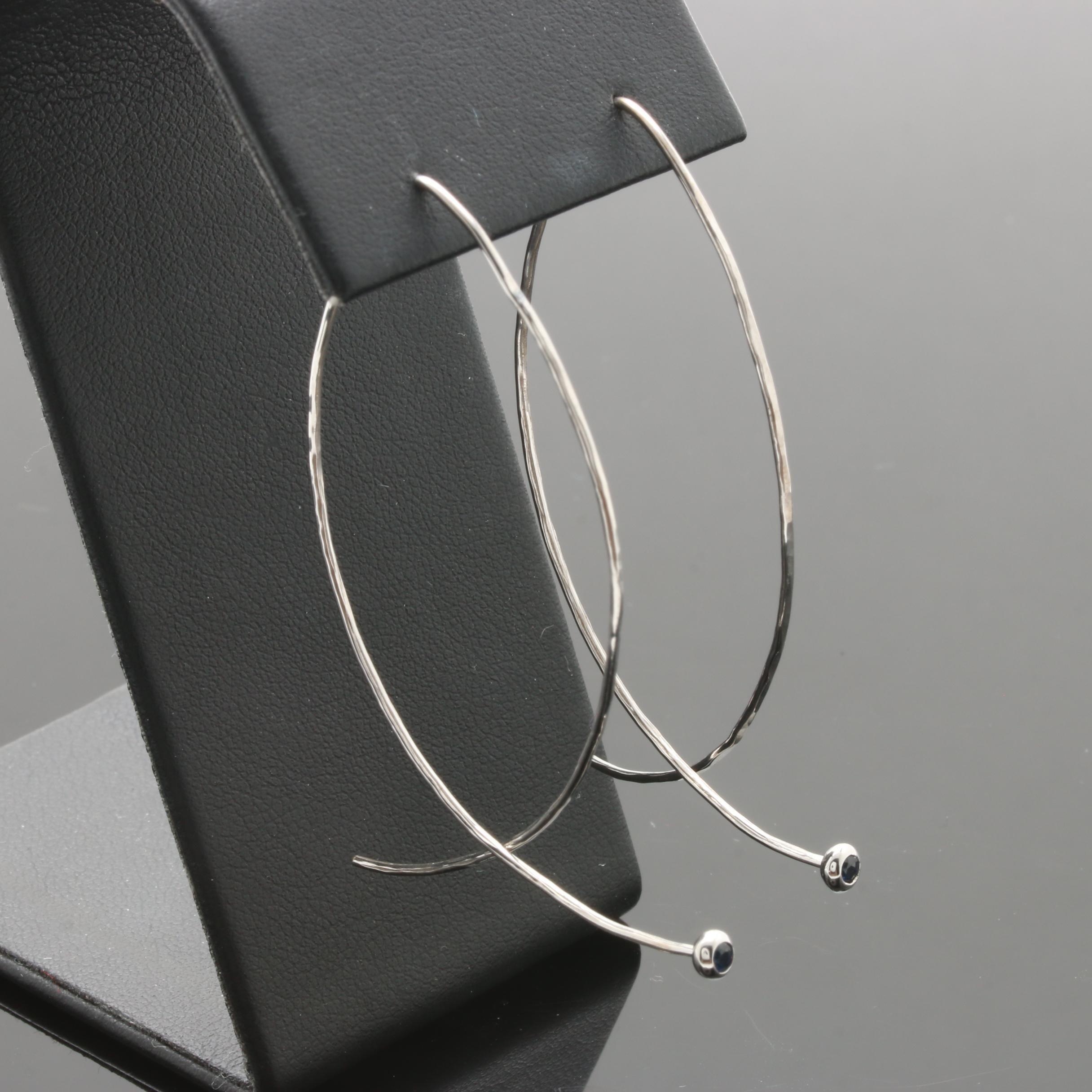 14K White Gold Blue Sapphire Threader Earrings