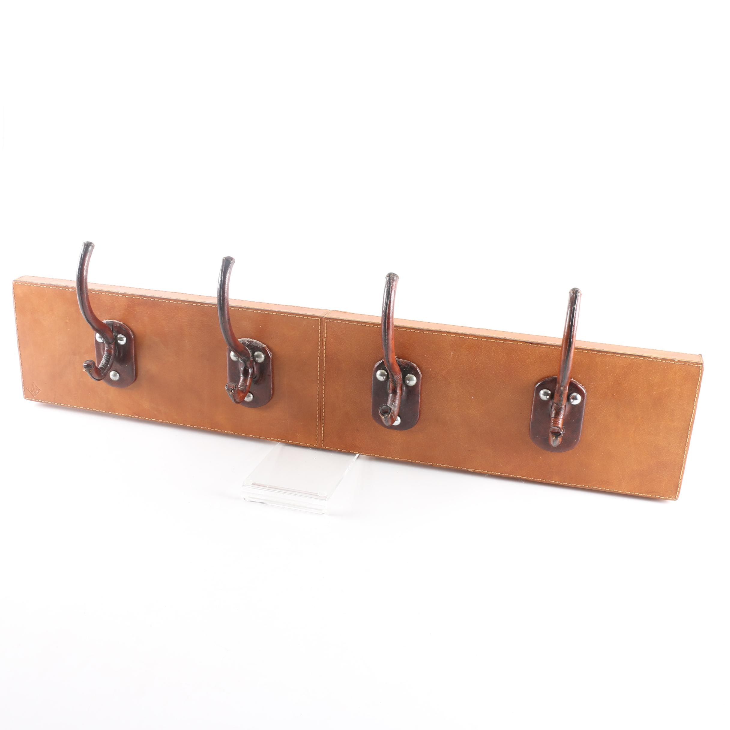 Hanging Leather Covered Wood Coat and Hat Rack with Stetson Leather