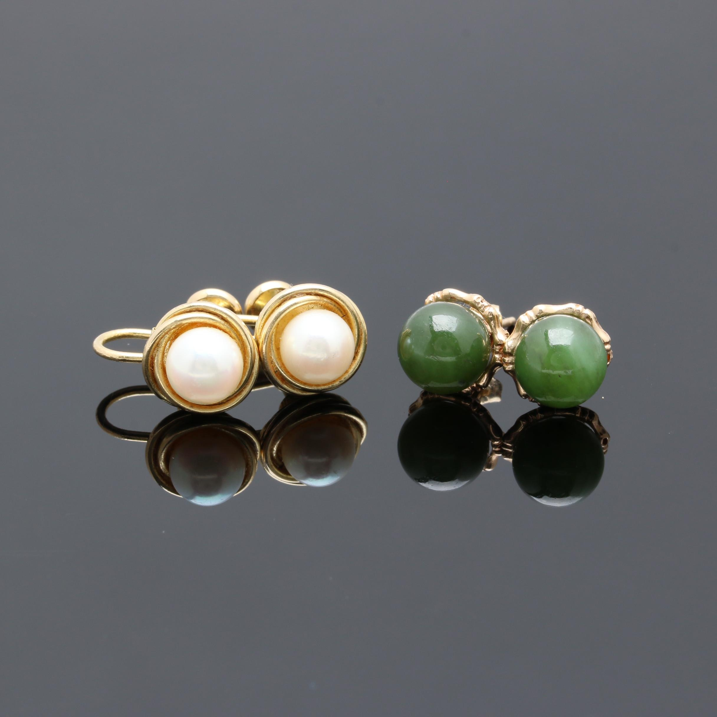 14K Yellow Gold Earring Selection Including Cultured Pearl and Nephrite