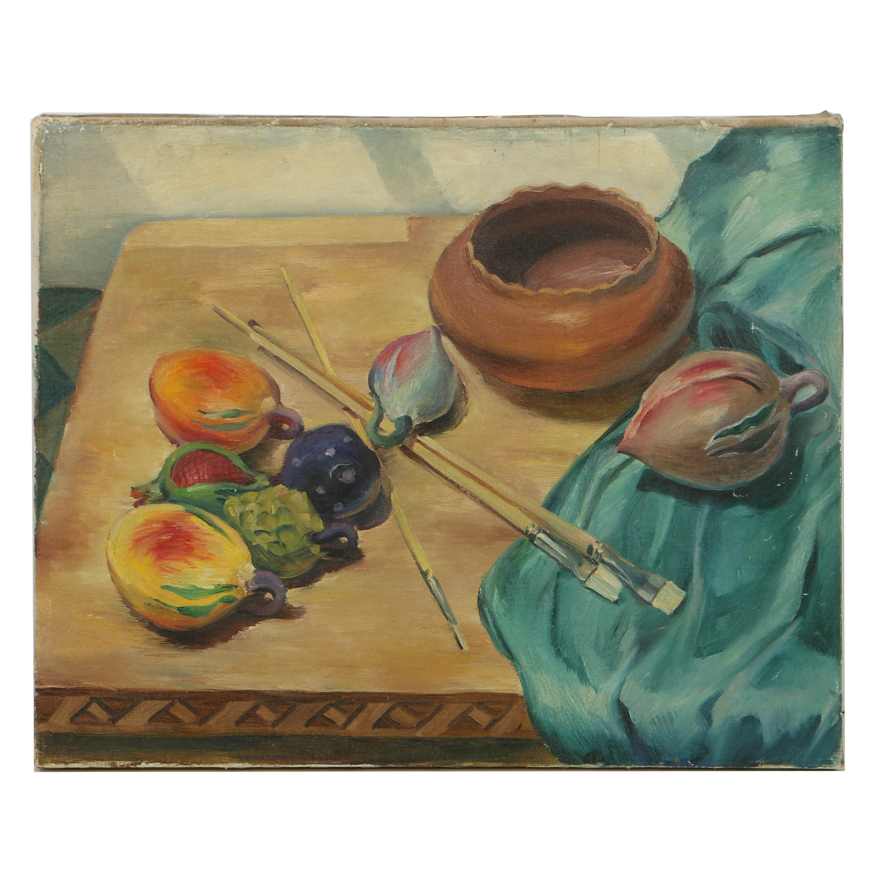 Attributed to Edgar Yaeger Oil Painting on Canvas Still Life