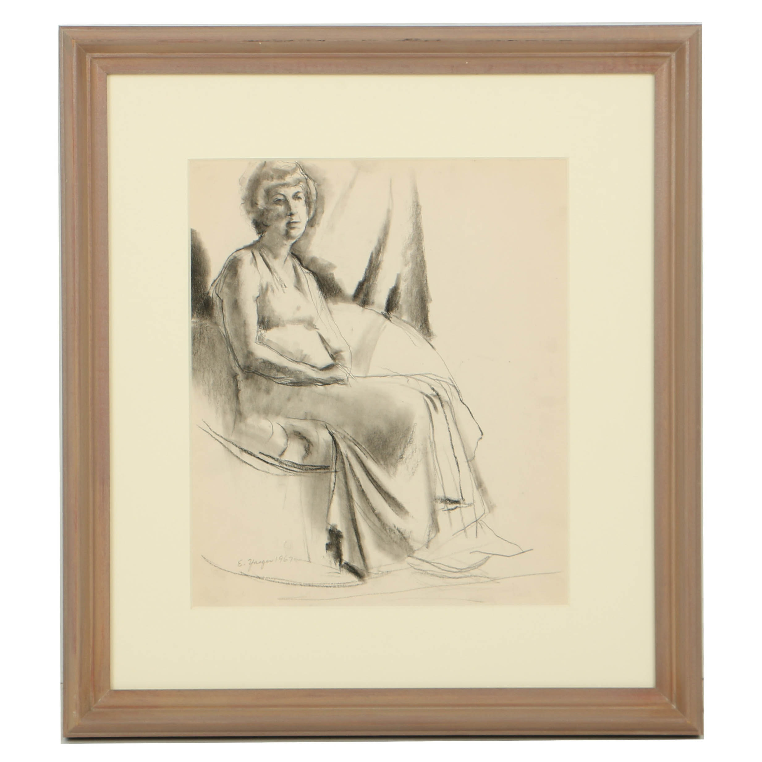 """Edgar Yaeger Charcoal Drawing on Paper """"Edith"""""""