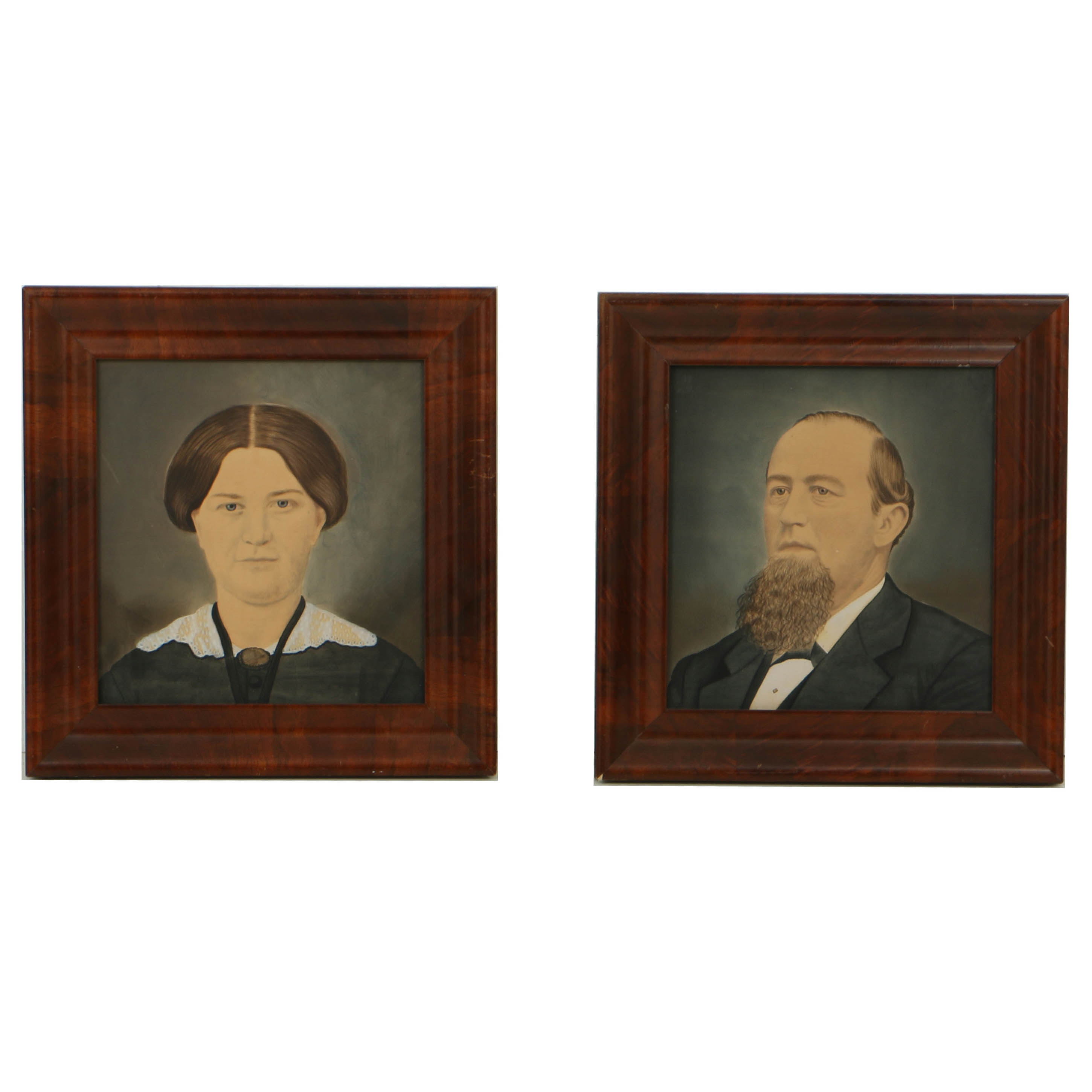 Pair of American School Late 19th Century Gouache and Watercolor Folk Portraits