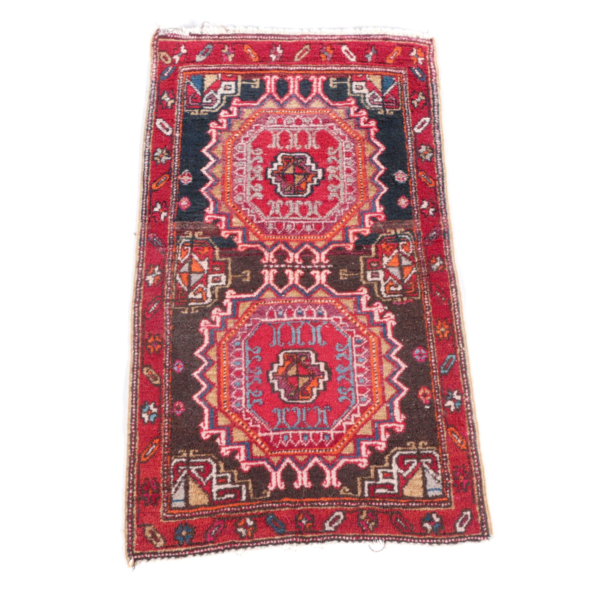 Hand-Knotted Caucasian Kazak Wool Accent Rug