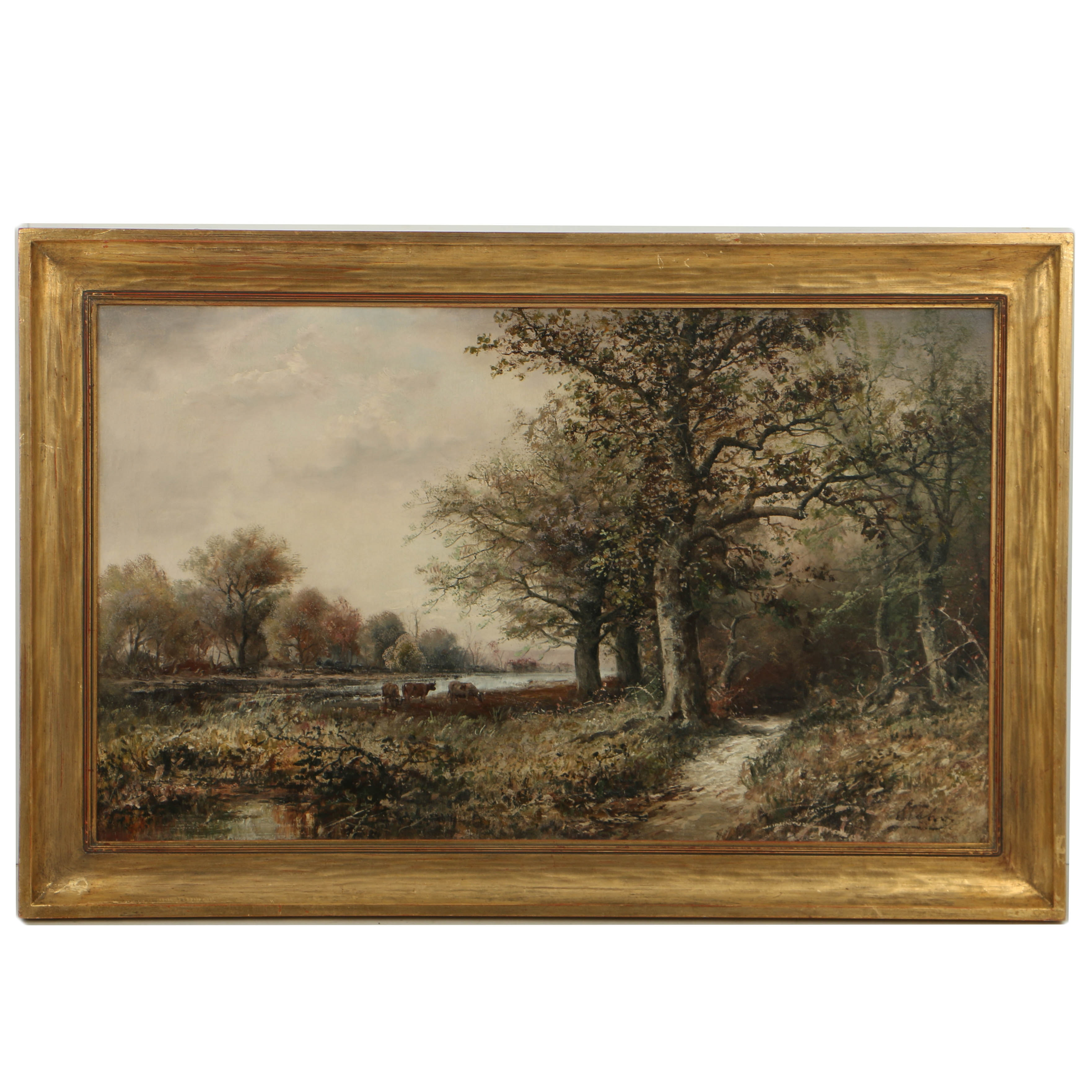 Mid 20th-Century Oil Painting on Canvas Pastoral Landscape