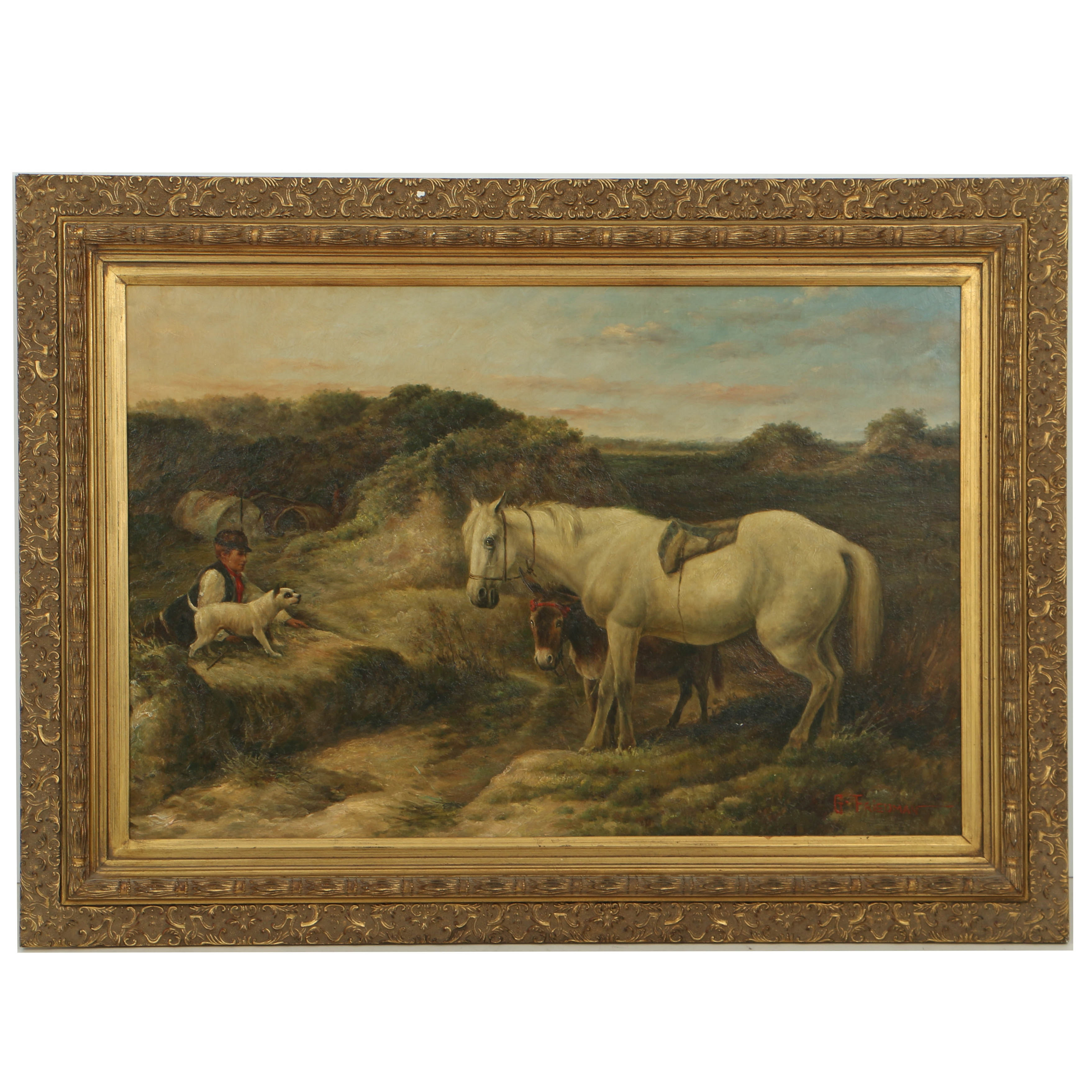 G. Friedman Mid-to-Late 20th Century Oil Painting Rural Landscape