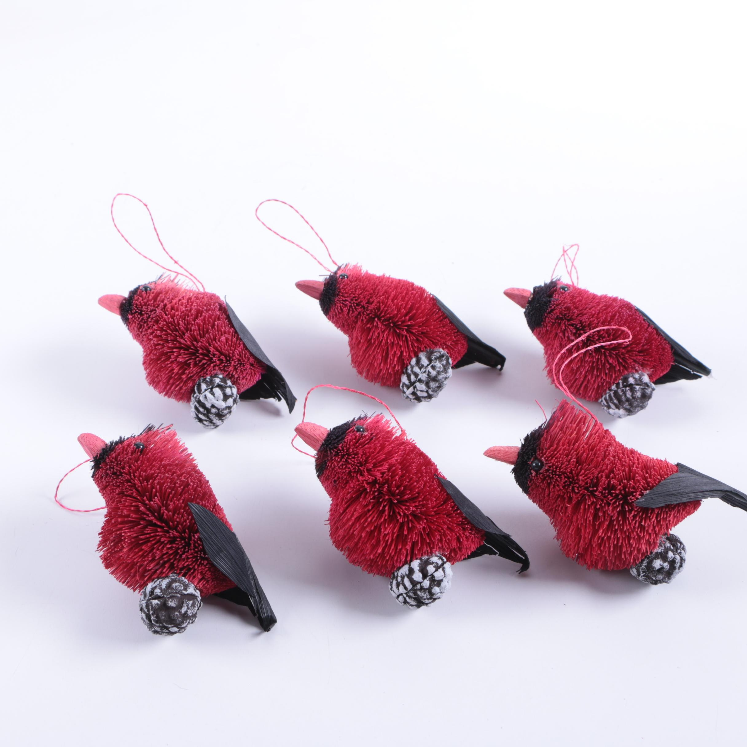 Bottle Brush Cardinal Christmas Ornaments