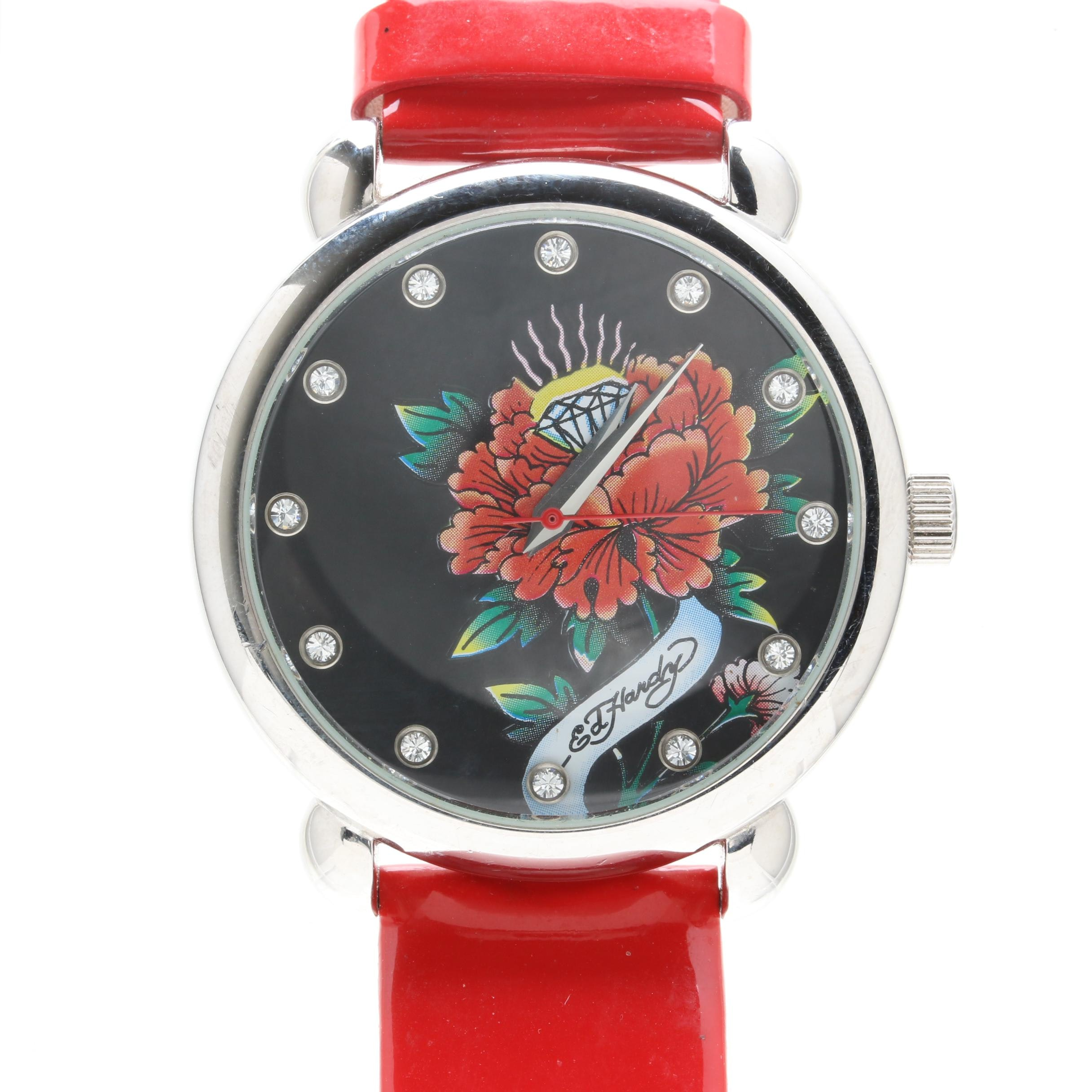 Ed Hardy Silver Tone and Glass Crystal Wristwatch