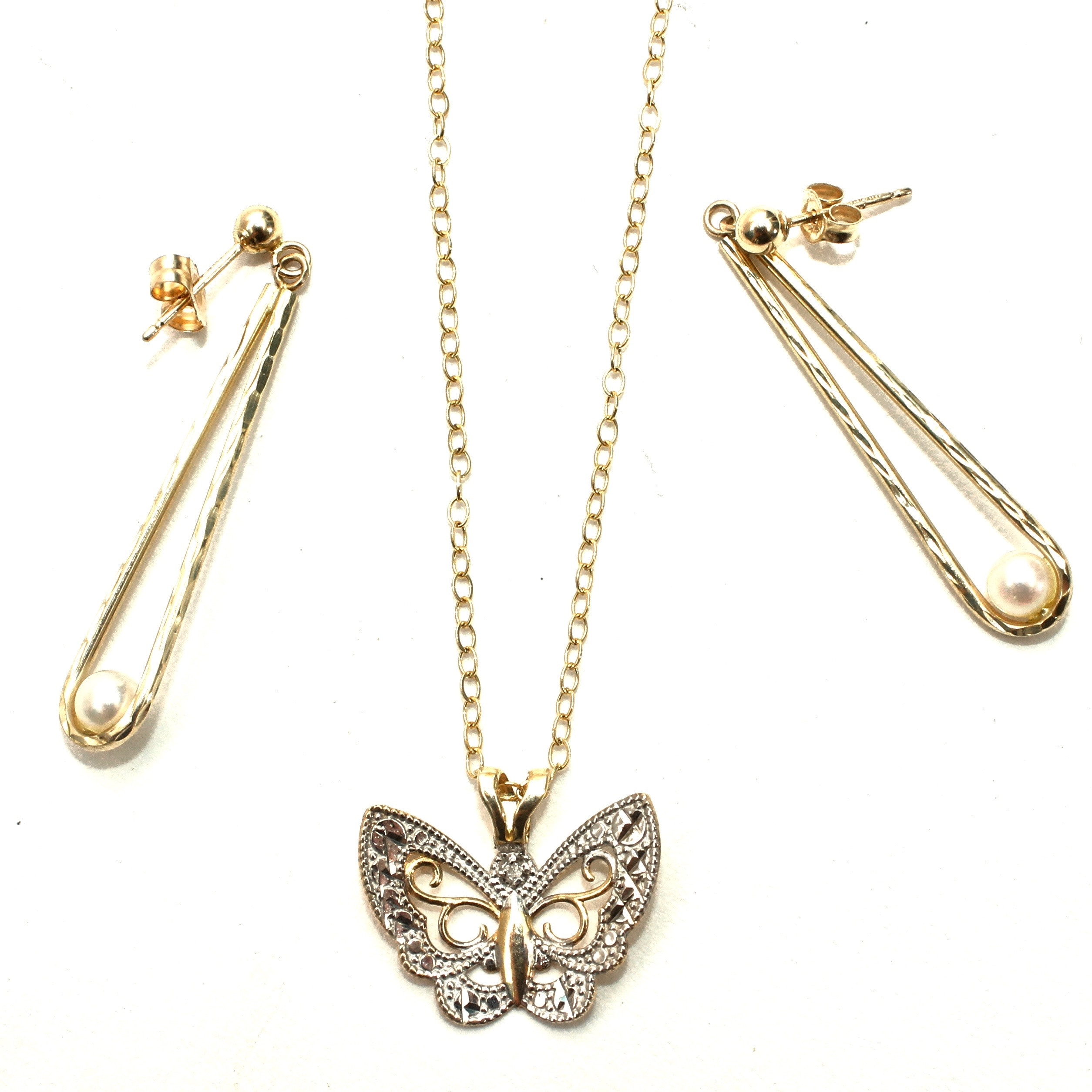 14K Yellow Gold Pearl Earrings, 10K Yellow Gold Diamond Butterfly Necklace
