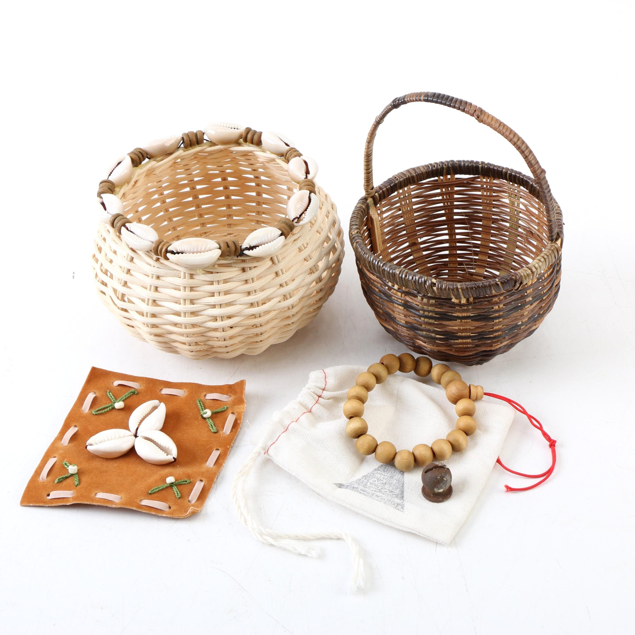Wicker Baskets and Accessories with Cowrie Shell Accents