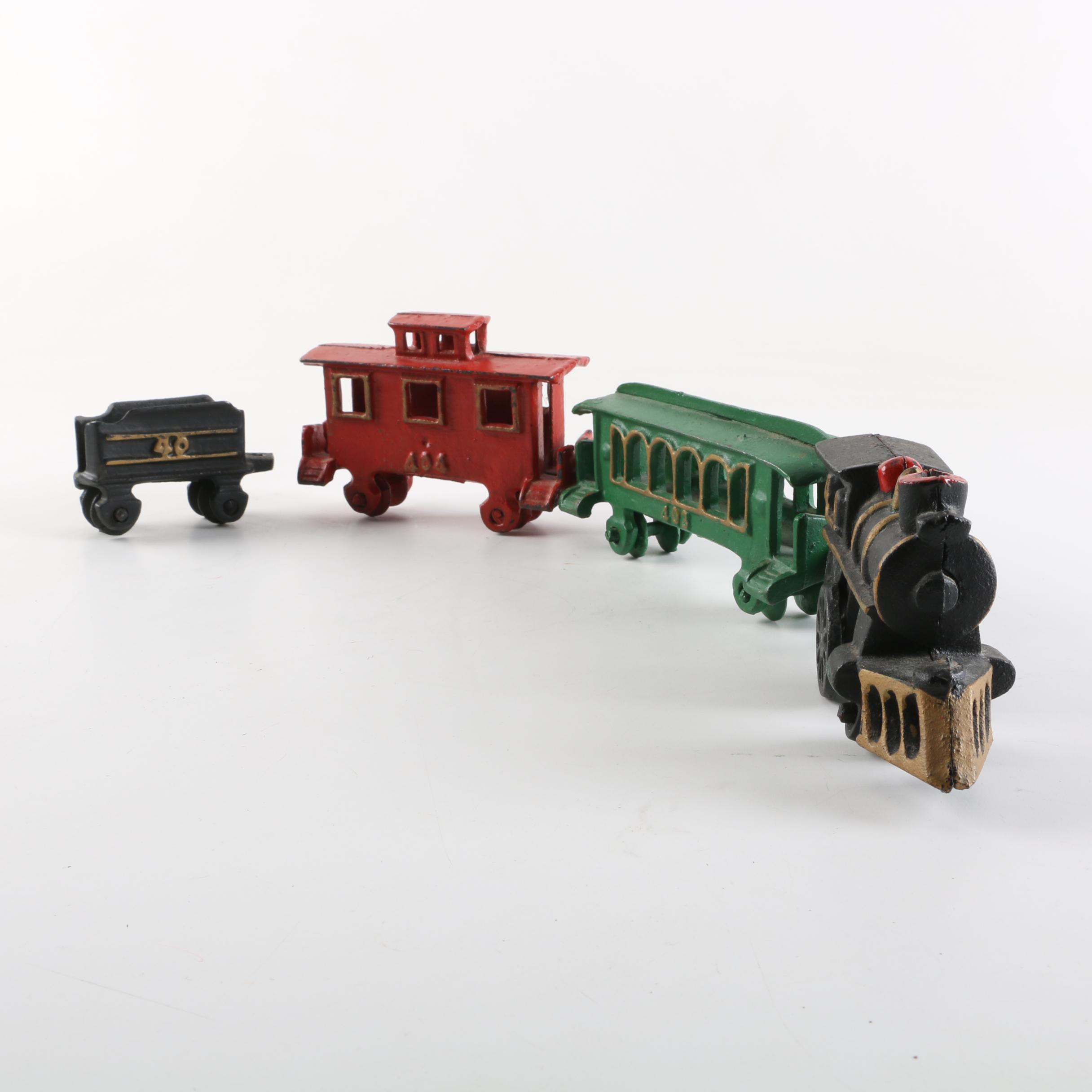 Vintage Cast Iron Toy Train Set
