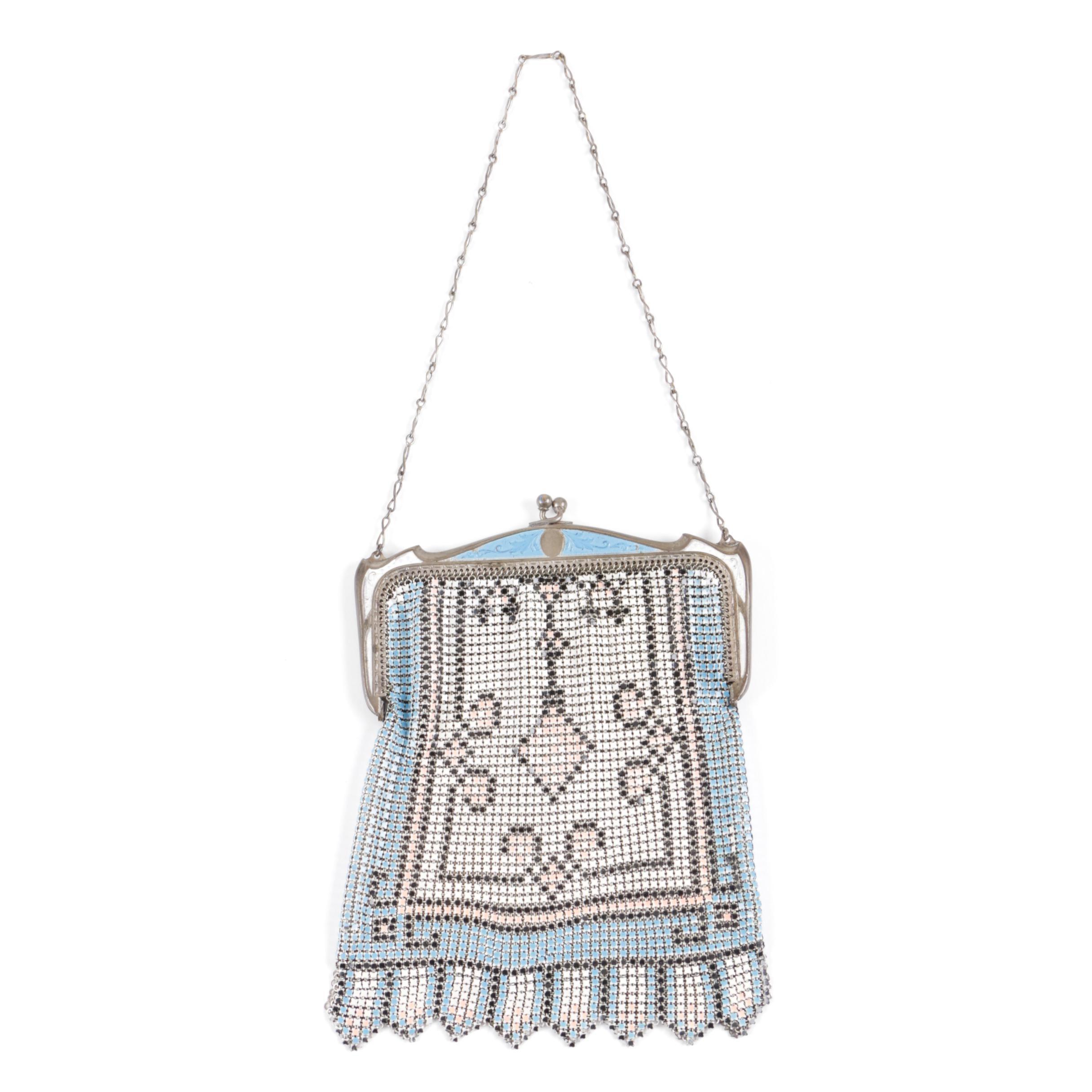 Circa 1920s Enamel Mesh Handbag