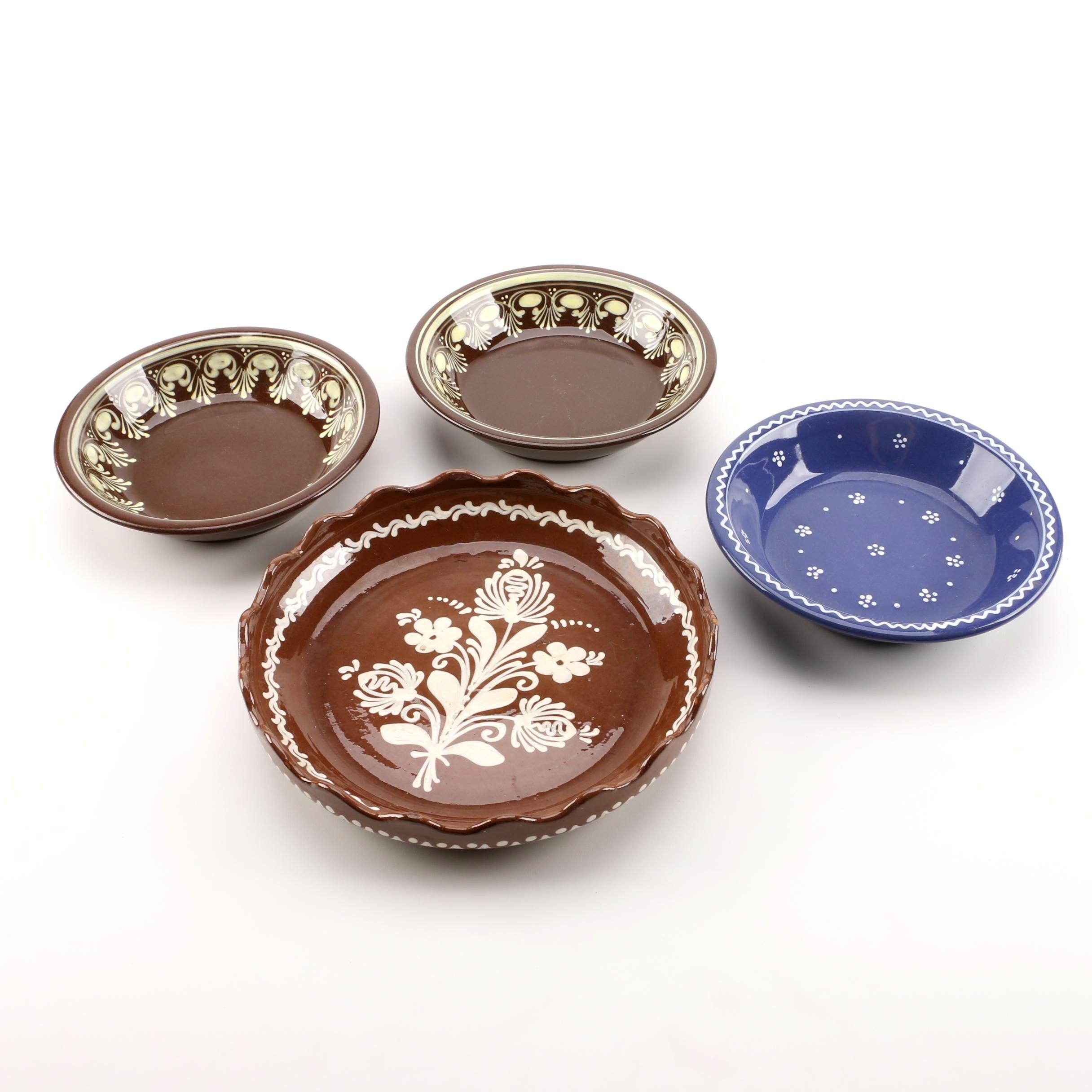Városlõd Majolika Hand Painted Stoneware Bowls