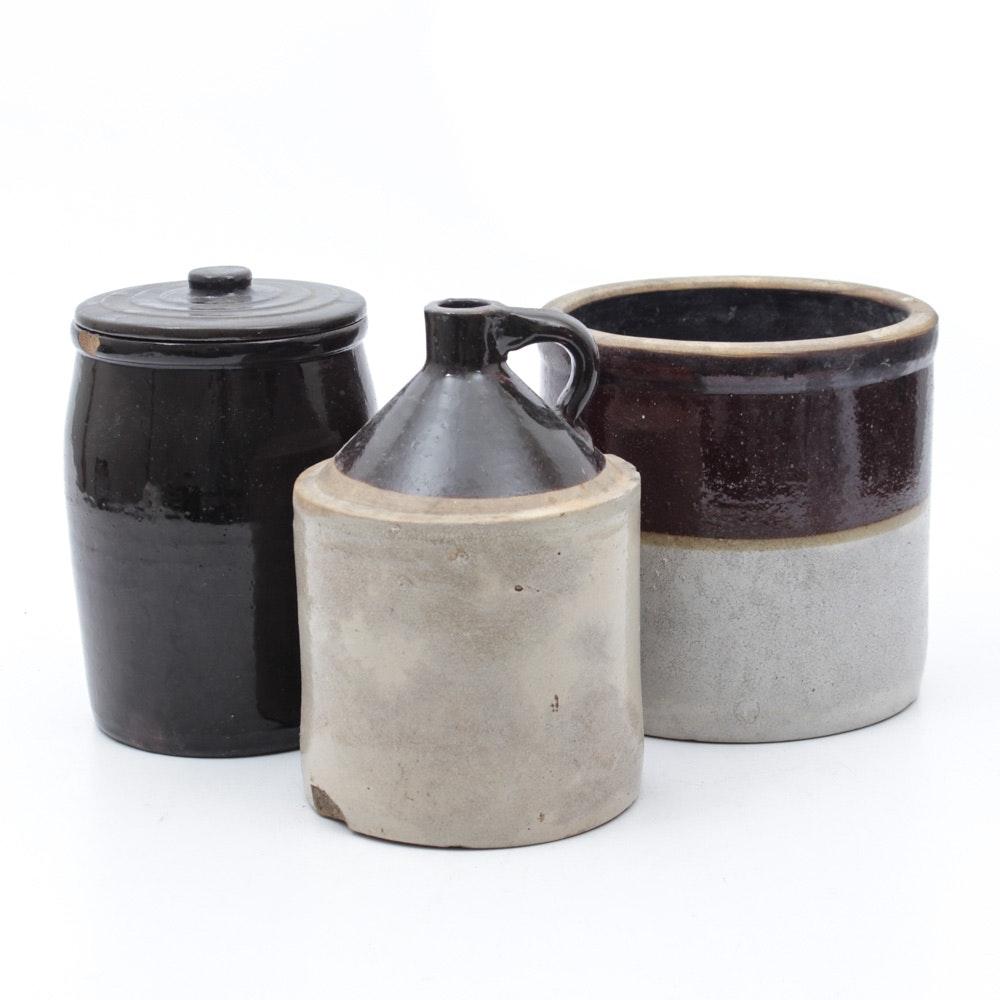 VIntage to Semi-Antique Salt Glazed Stoneware Crocks
