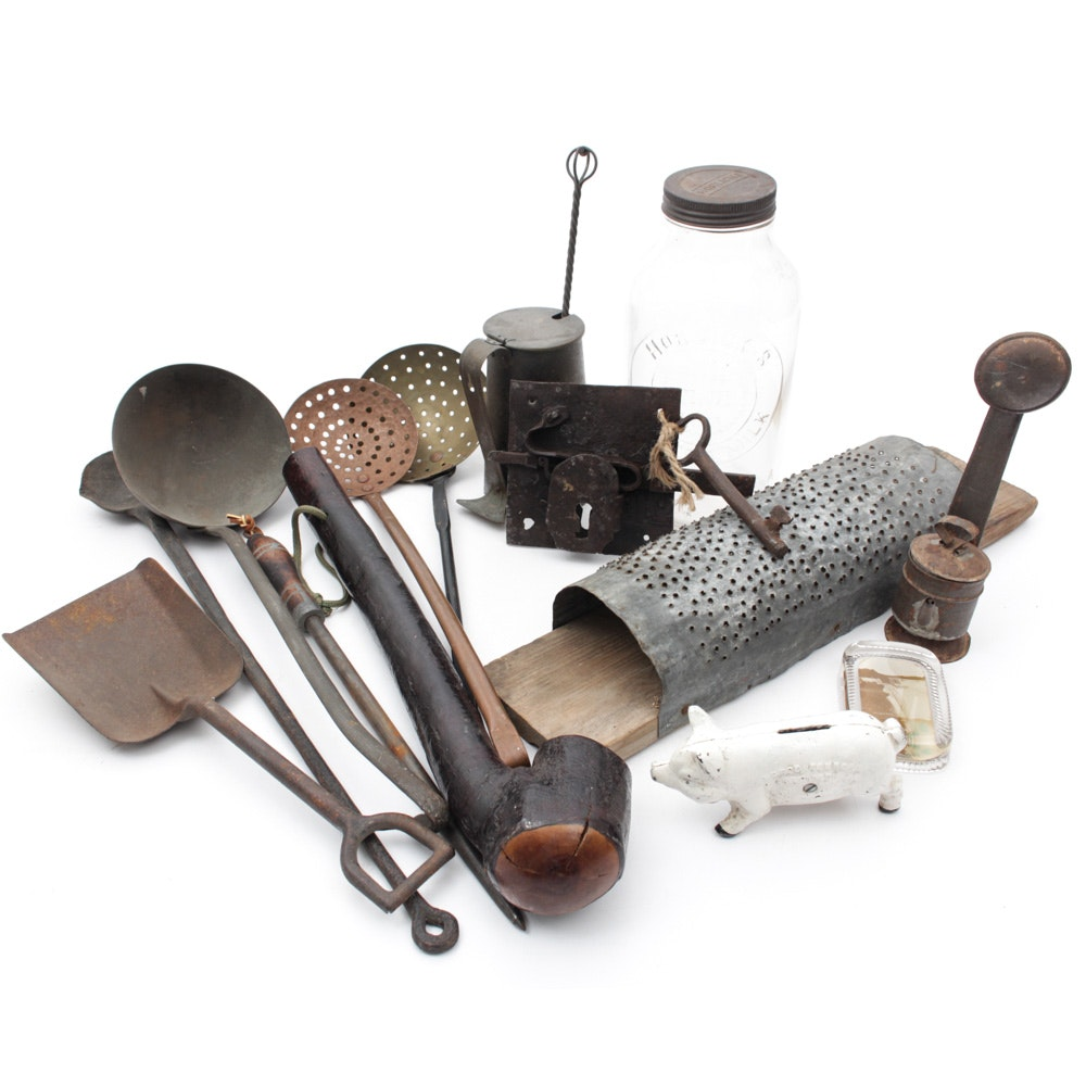 Assorted Antique Tools and Home Decor
