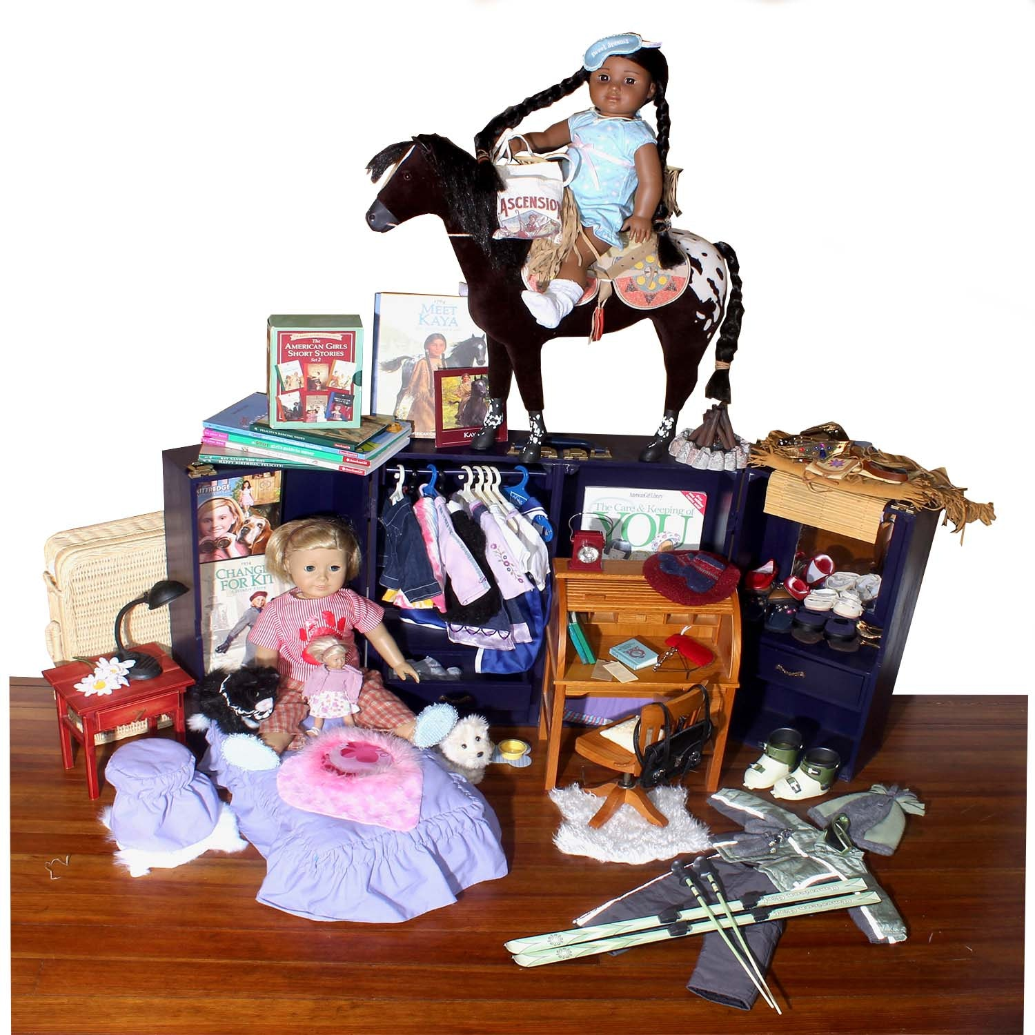 American Girl Dolls Kaya, Kit and Accessories Including Bitty Baby