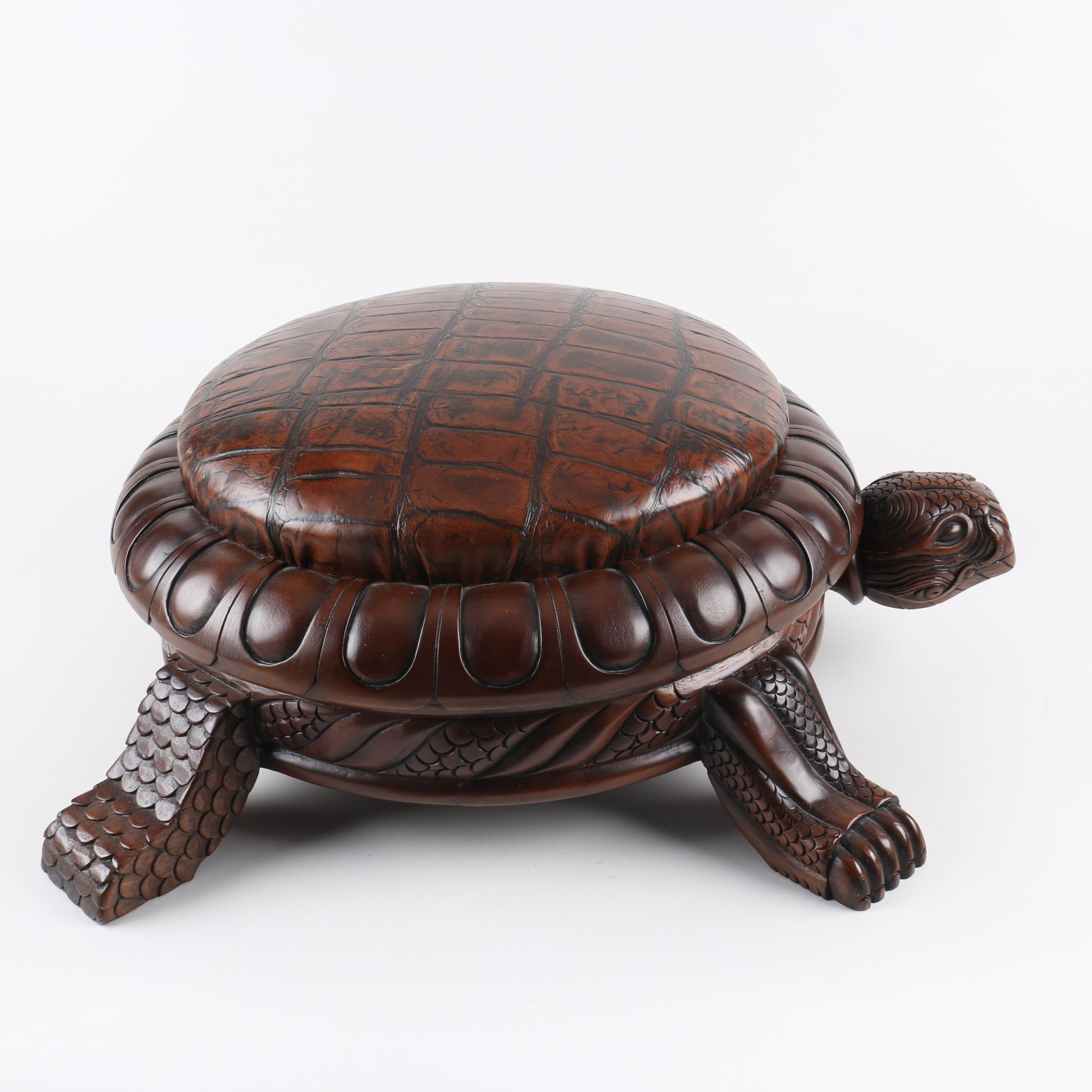 Carved Tortoise and Leather Footstool by Old Hickory Tannery