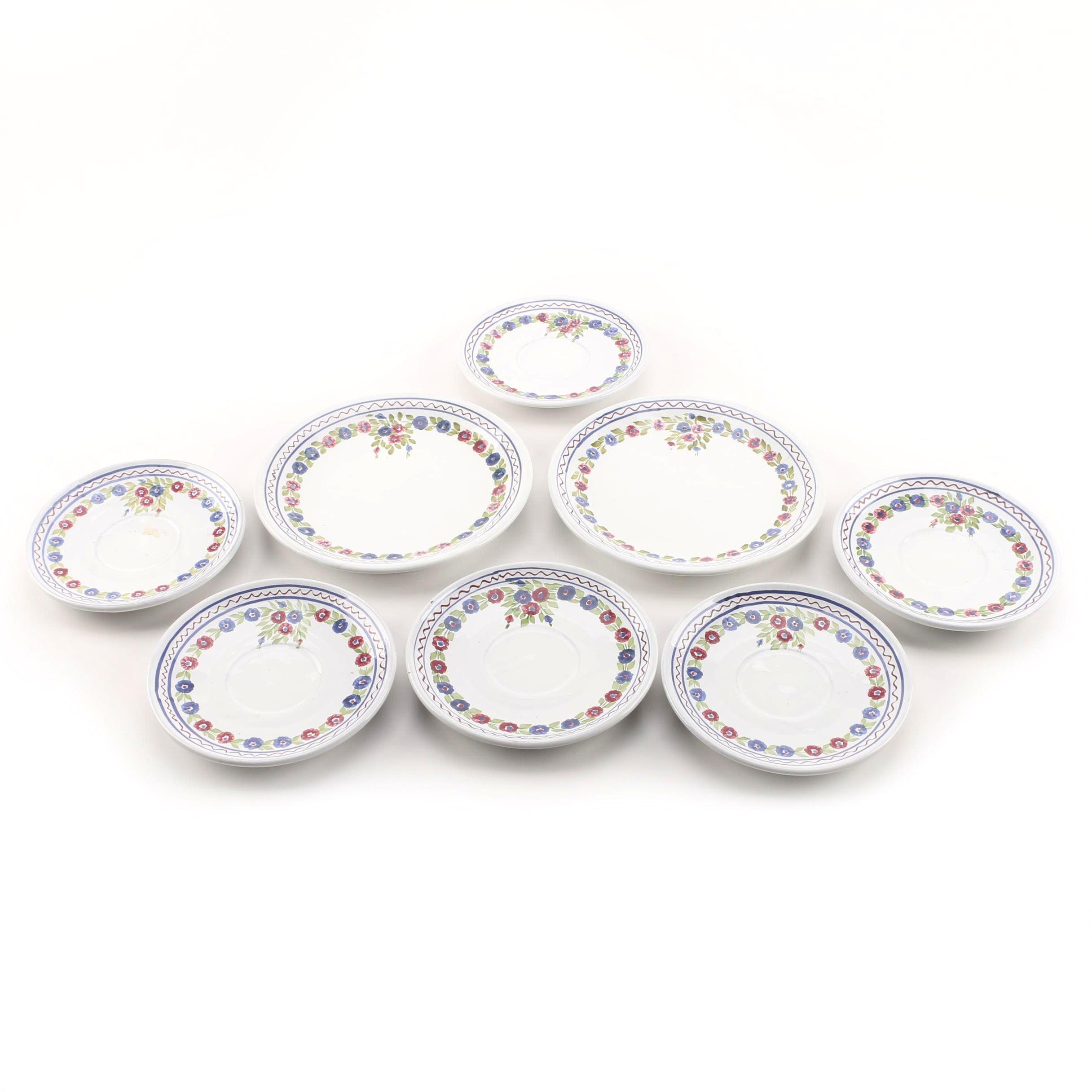 Városlõd Majolika Hand Painted Stoneware Plates