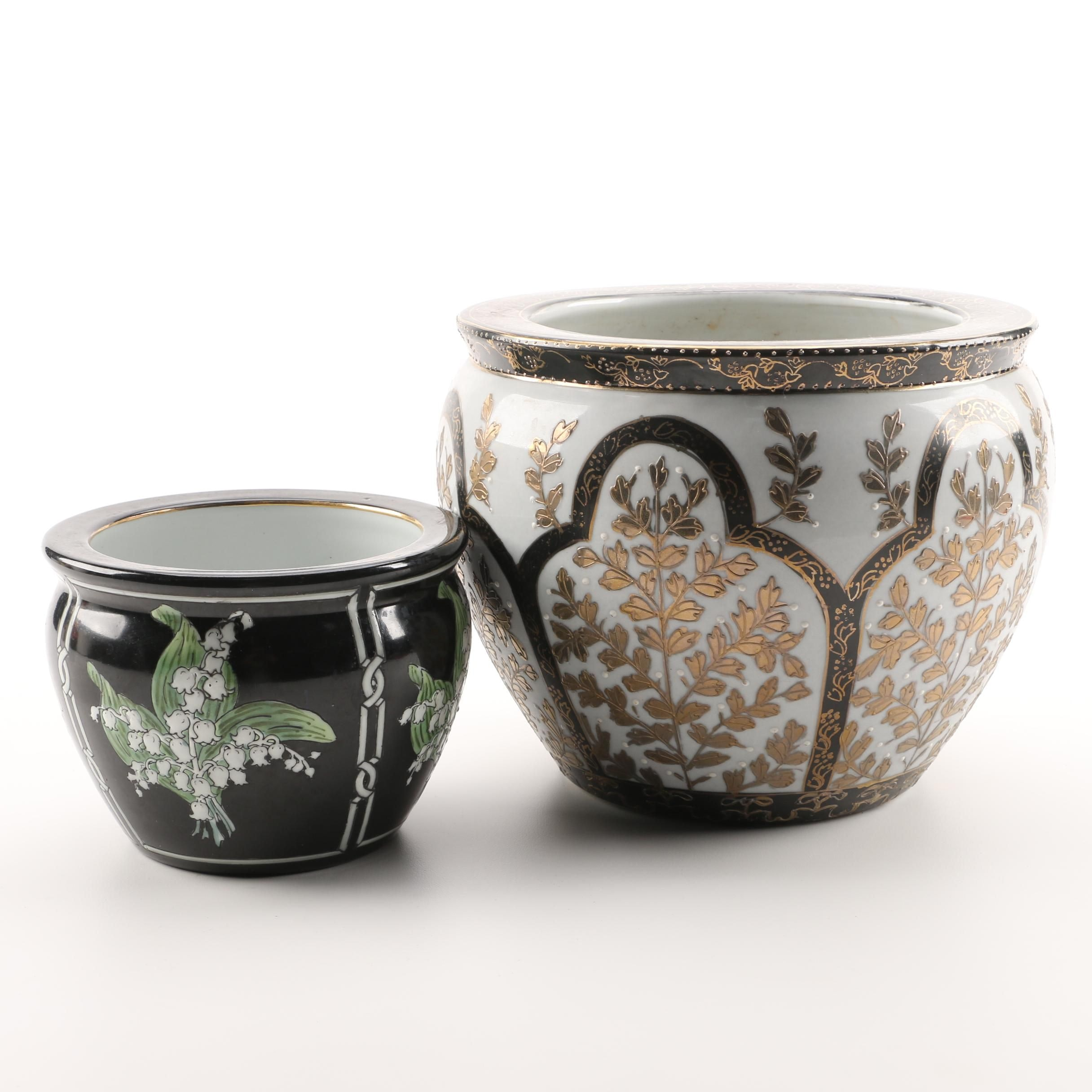 Ceramic Planters With Floral Motifs