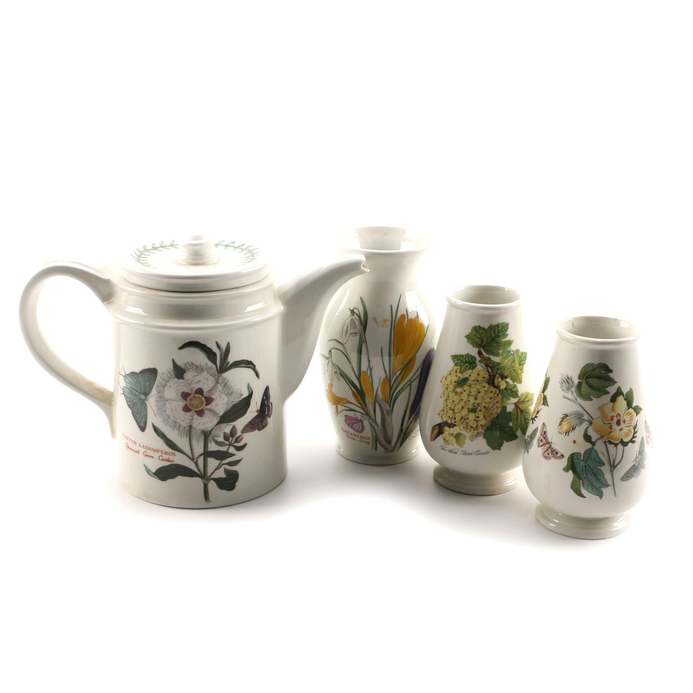 "Portmeirion ""Botanic Garden"" Teapot and Vases"