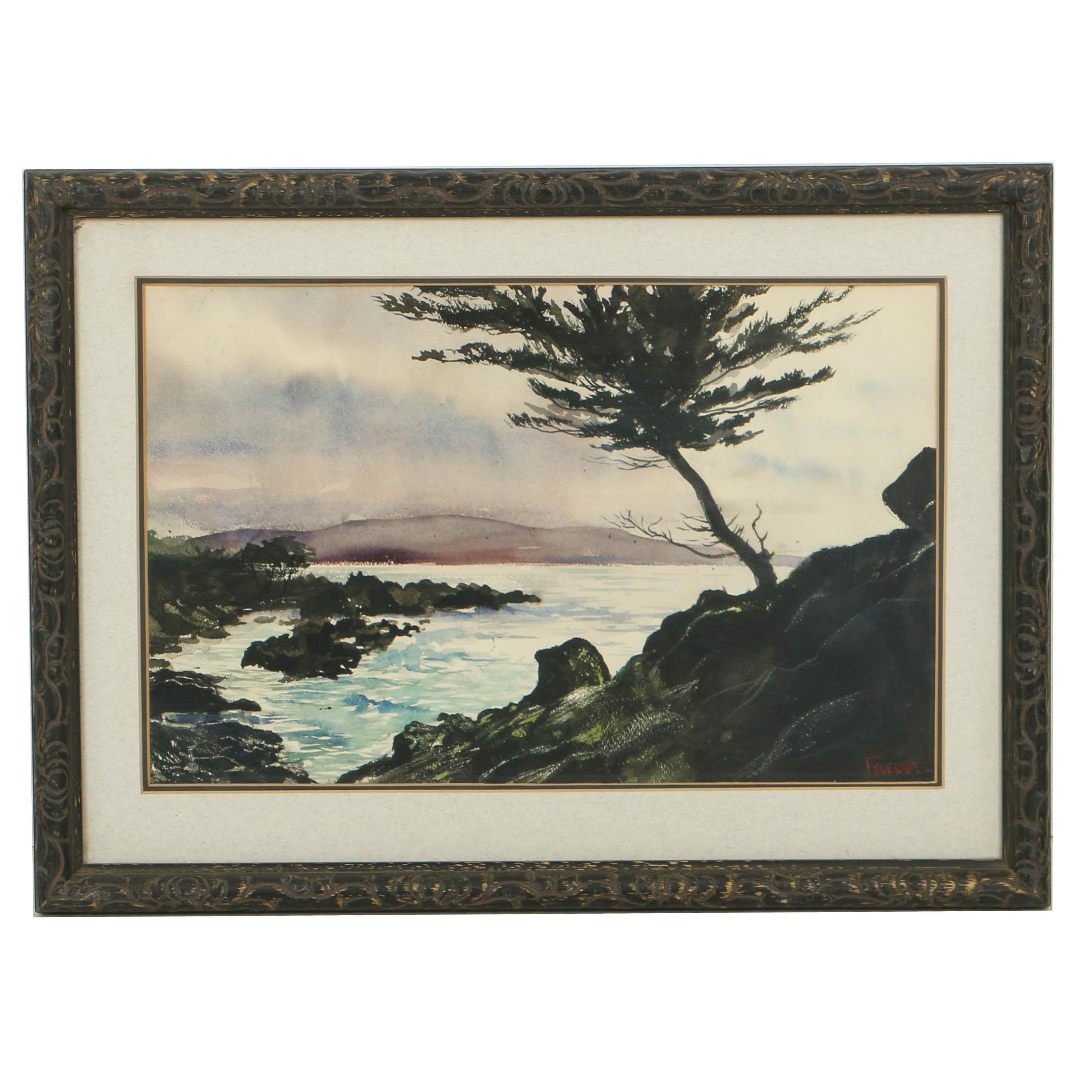 """Wilhelm Freddie Watercolor Painting on Paper """"Landskab"""""""