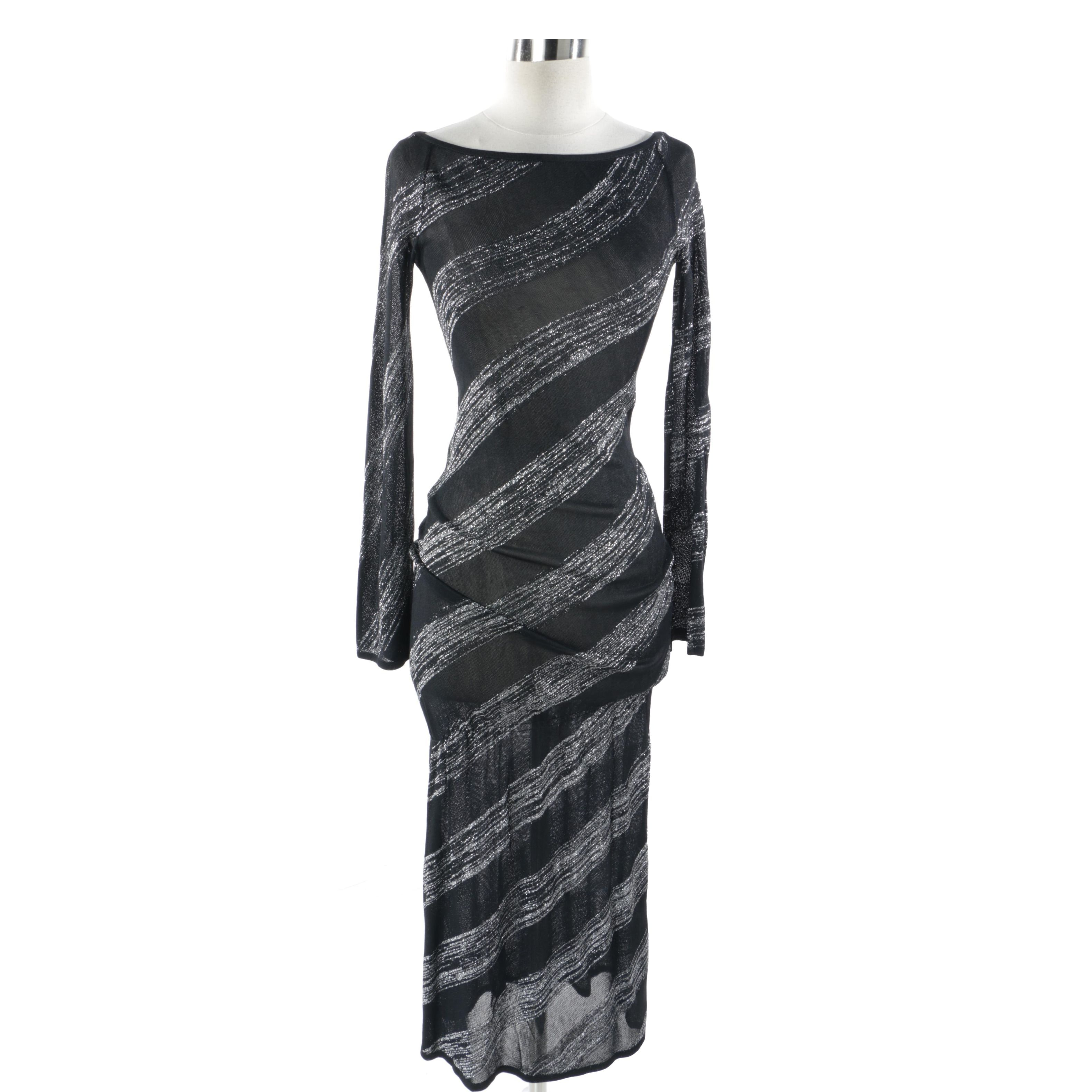 Alexander McQueen Black and Silver Knit Dress