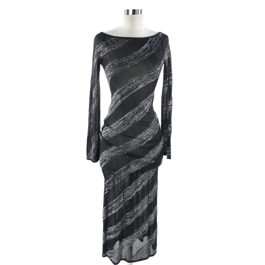 f6df5cc0573 Alexander McQueen Black and Silver Knit Dress   EBTH