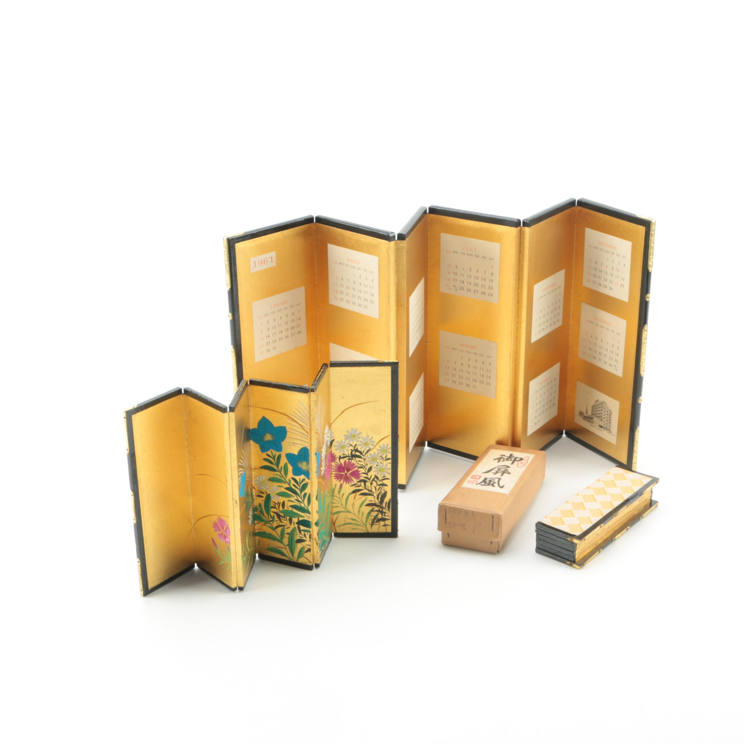 Vintage Japanese Folding Calendar with a Hand-Painted Floral Screen