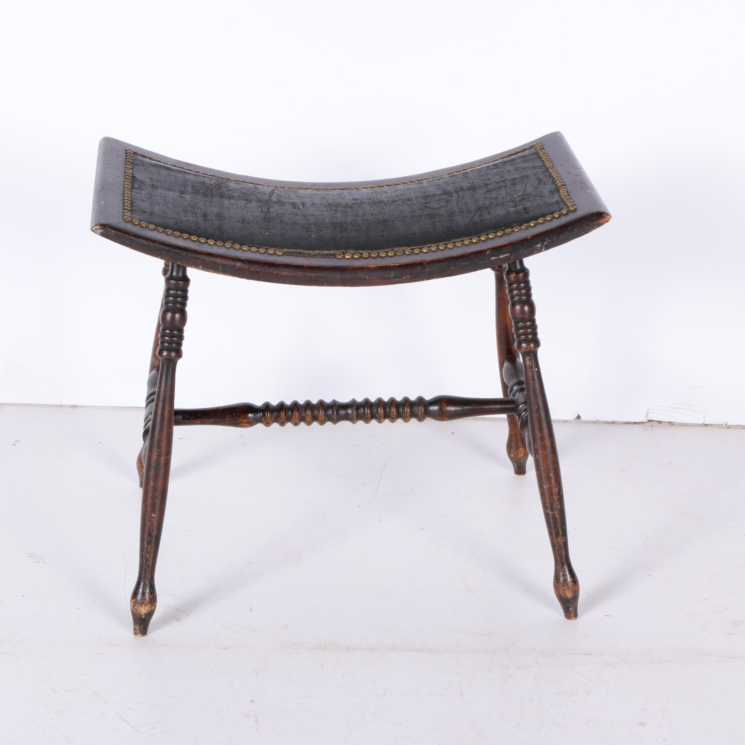 Antique Victorian Birch Hearth Stool