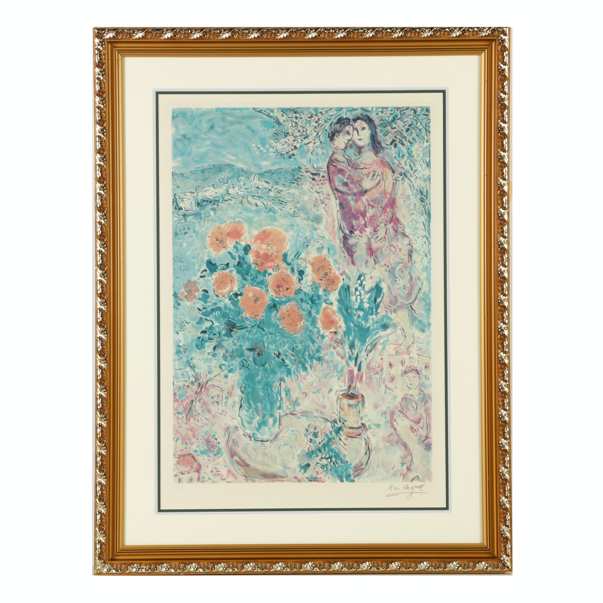 """Limited Edition Lithograph After Marc Chagall """"Red Bouquet with Lovers"""""""