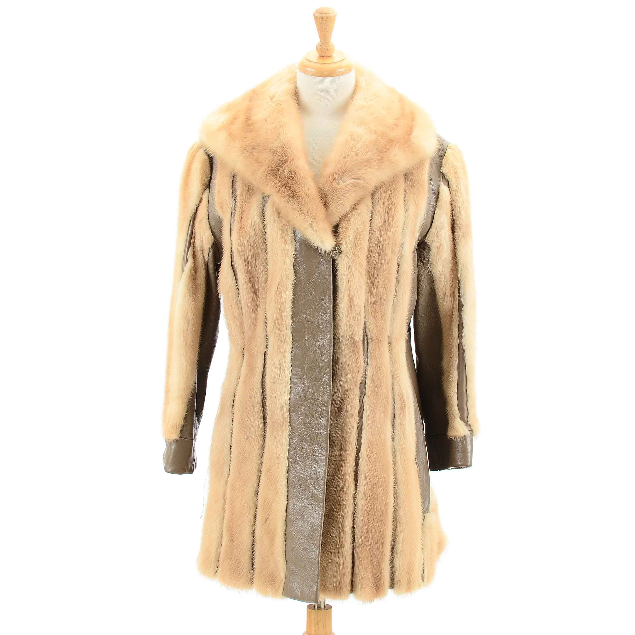 Vintage Mink Fur and Leather Coat