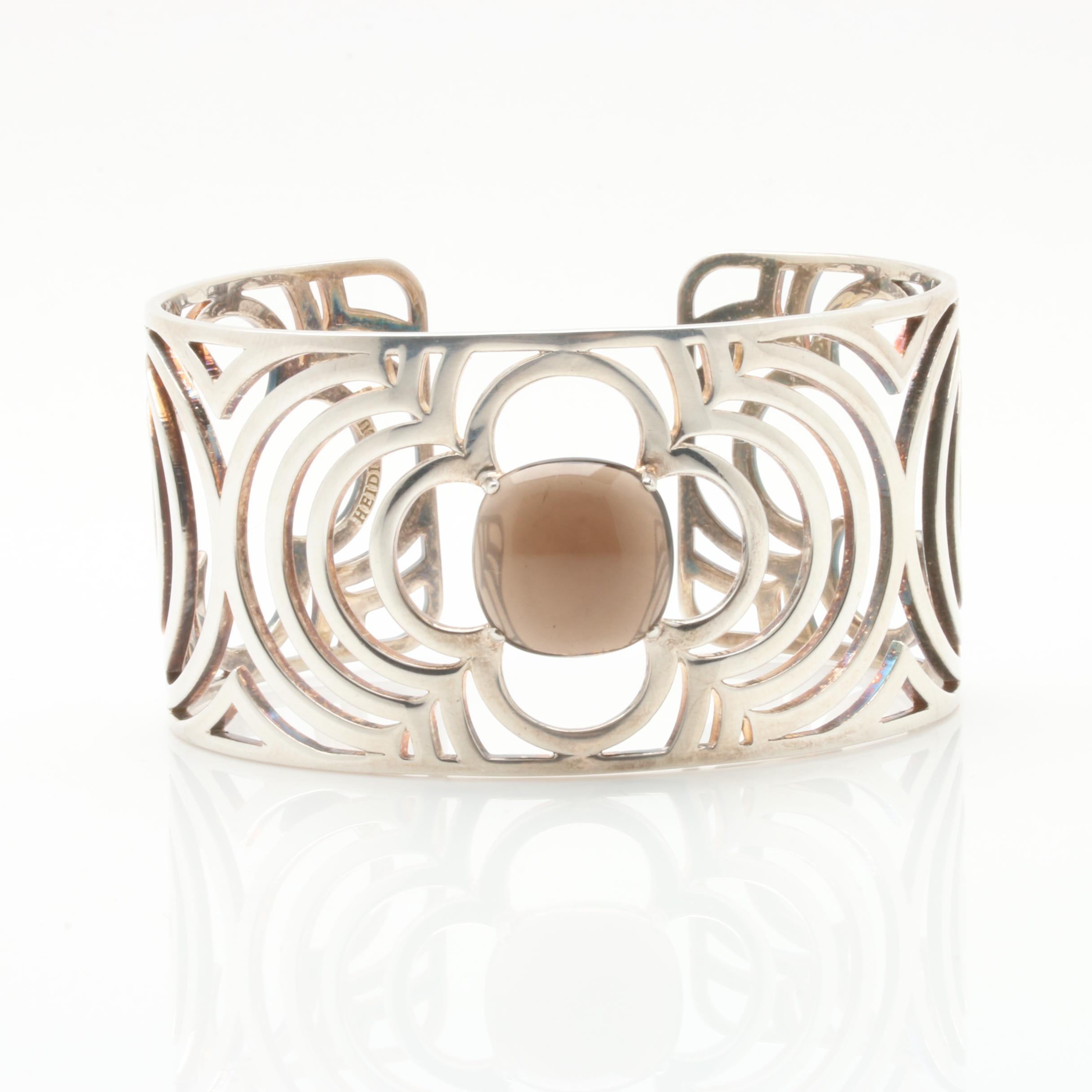 Heidi Klum Sterling Silver Smoky Quartz Cuff Bracelet