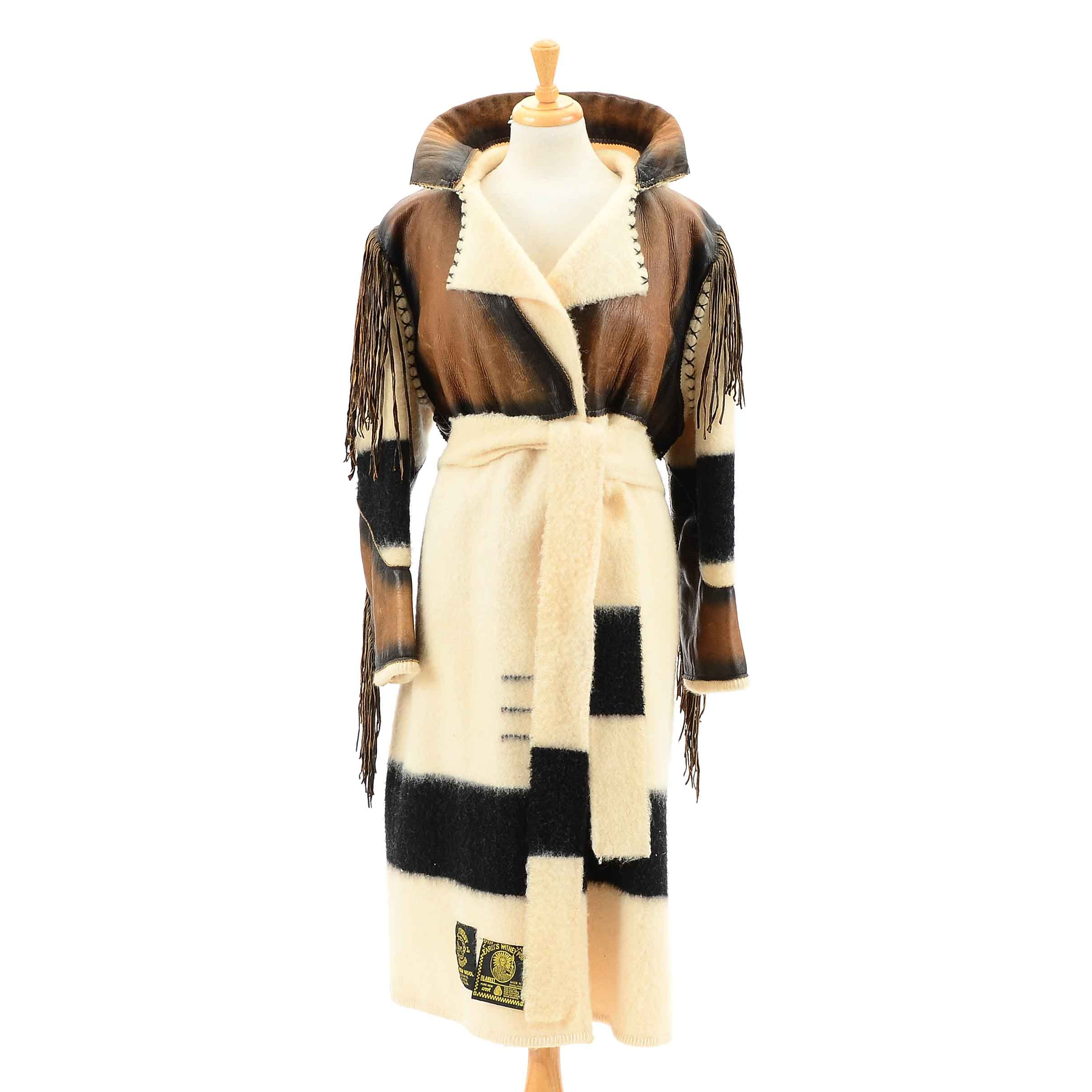 Early's Witney Point Wool and Leather Wrap Coat