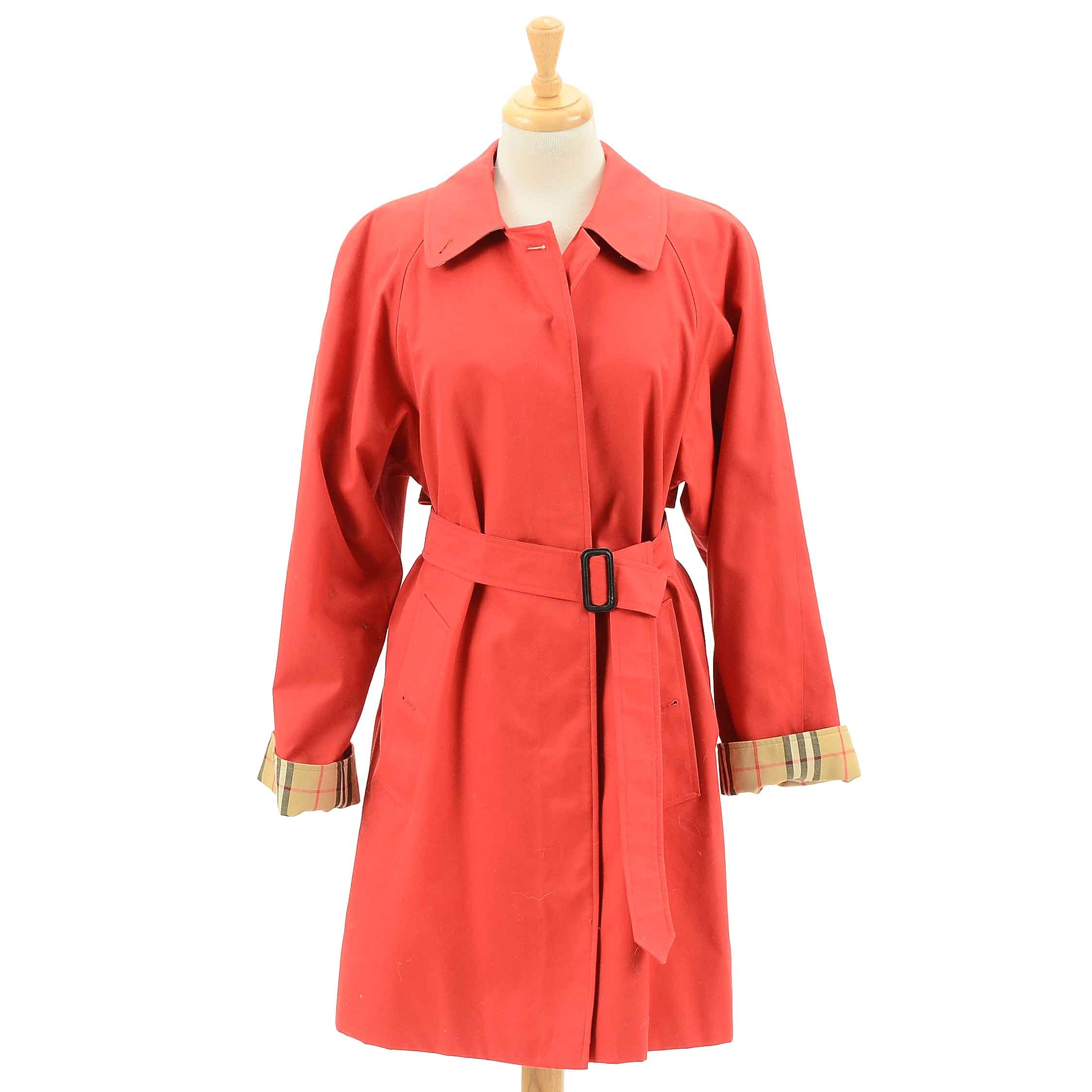 Women's Red Burberry Trench Coat