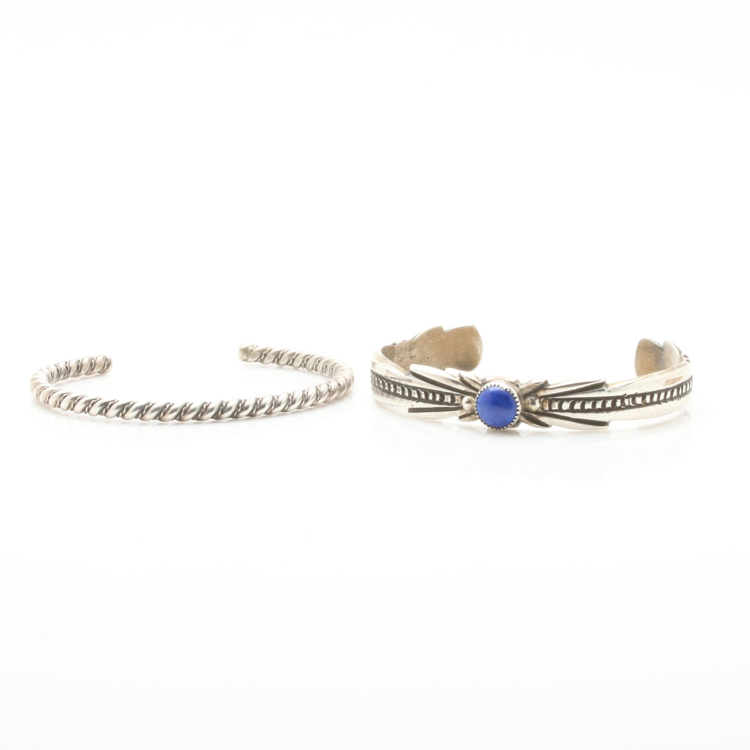 Sterling Silver Cuff Bracelet Selection with Dyed Lapis Lazuli