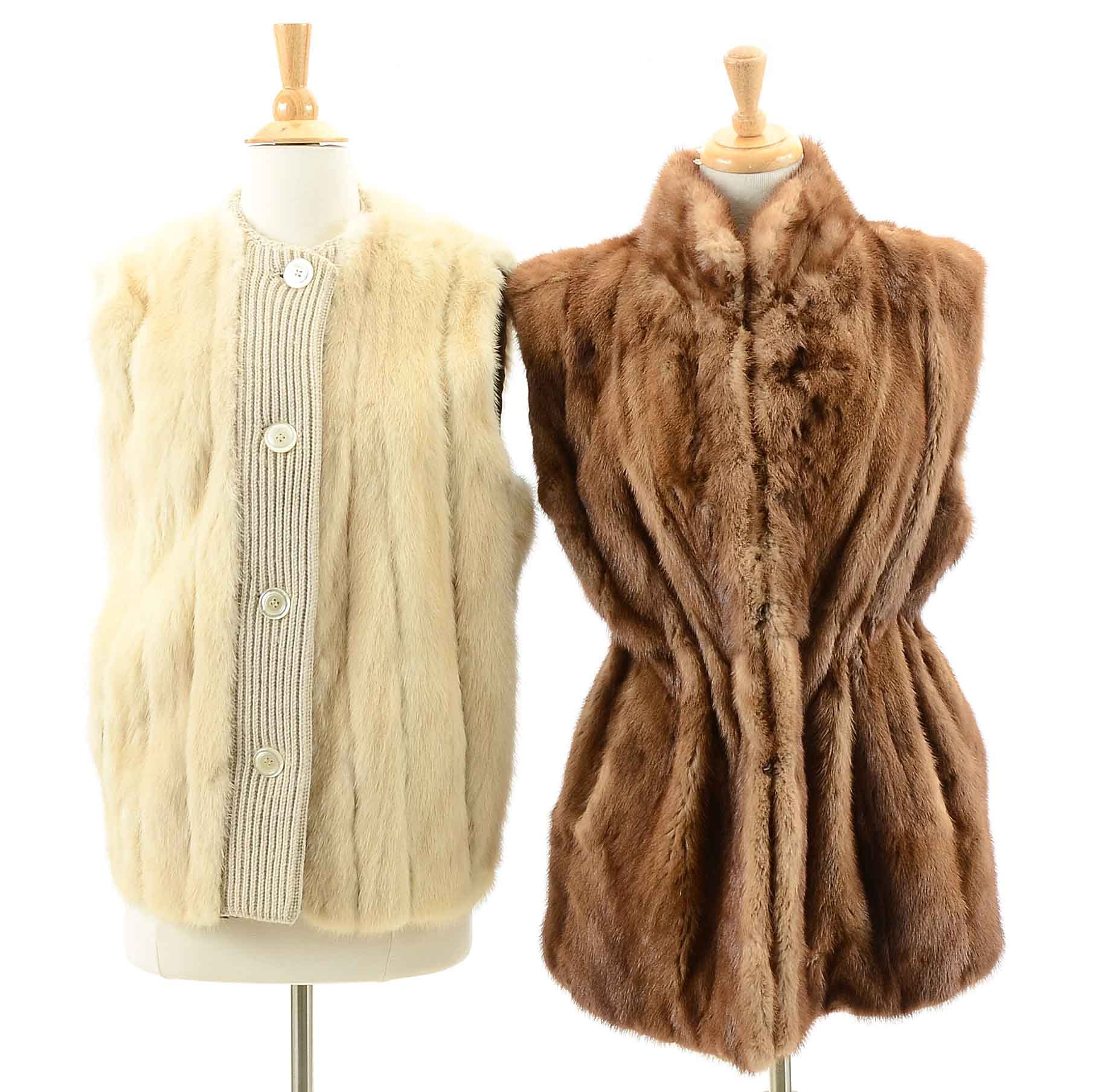 Vintage Brown and Blonde Mink Fur Vests