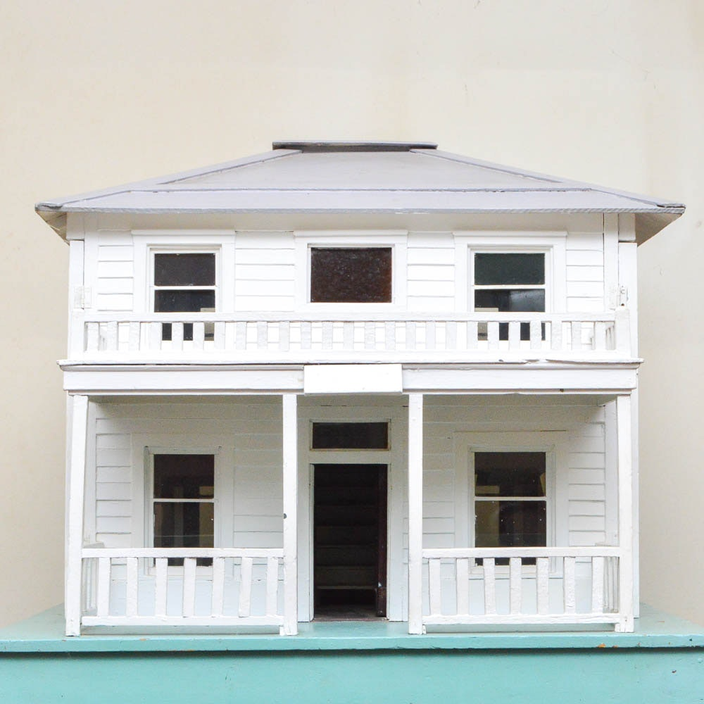 Vintage Handmade American Foursquare Style Dollhouse
