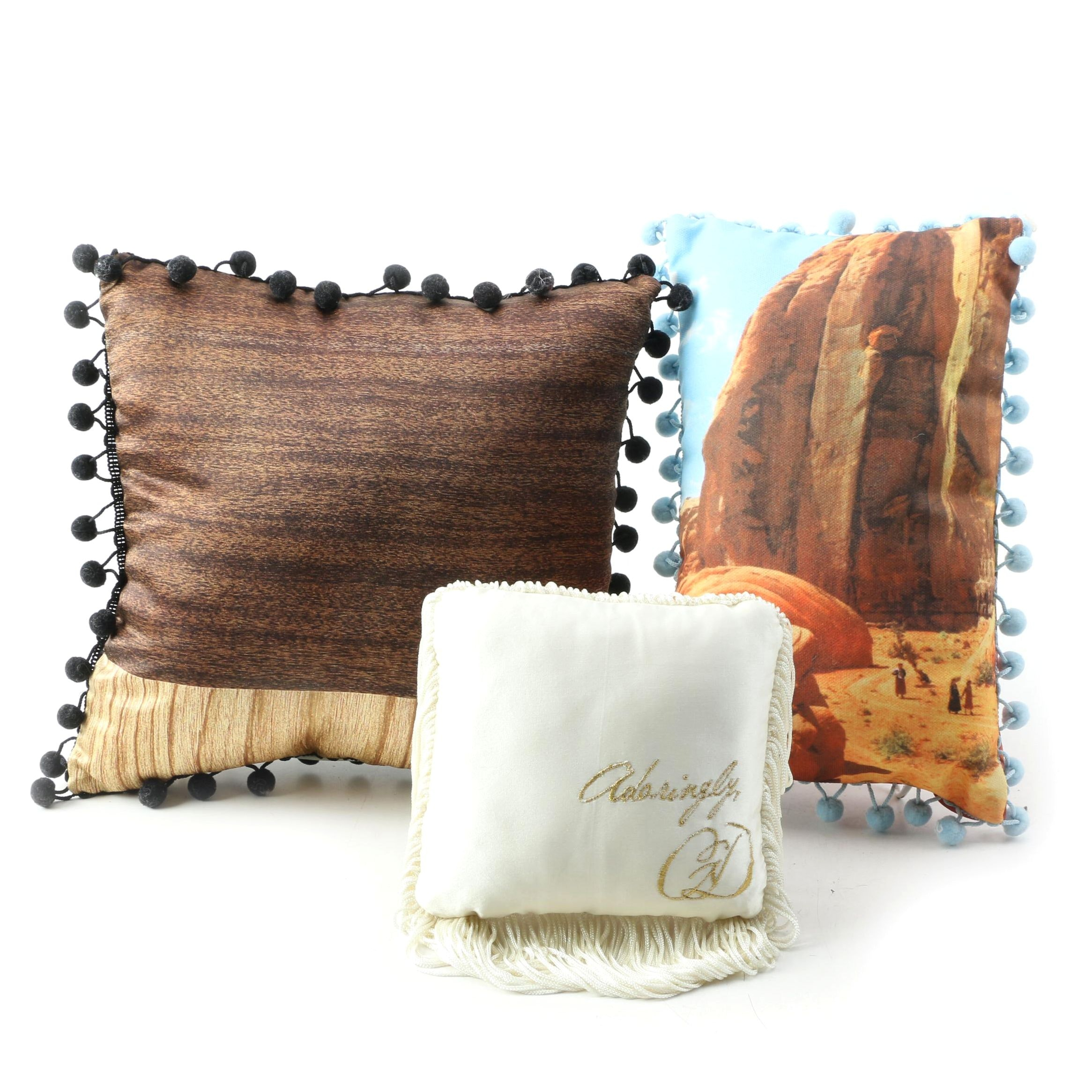 Assorted Small Pillows with Pom Pom and Fringed Accents